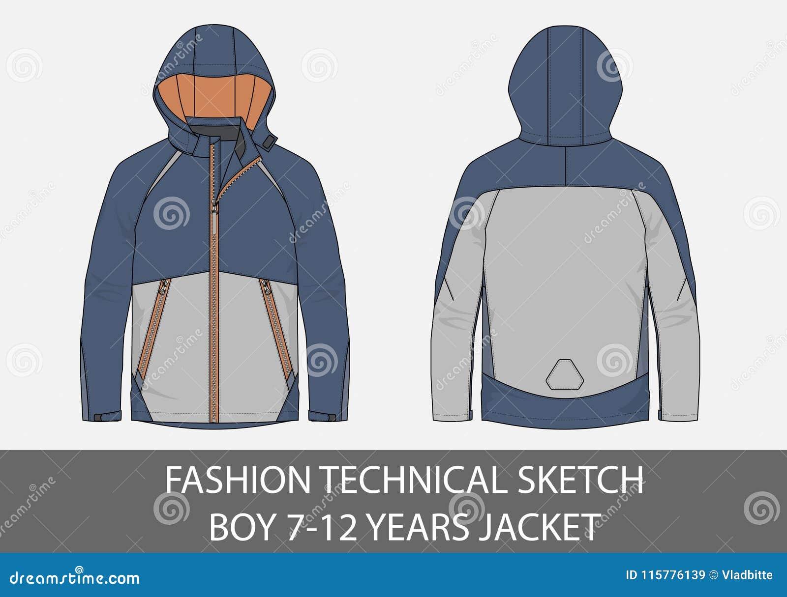 Forme a esboço técnico para o menino 7-12 anos de revestimento com capa