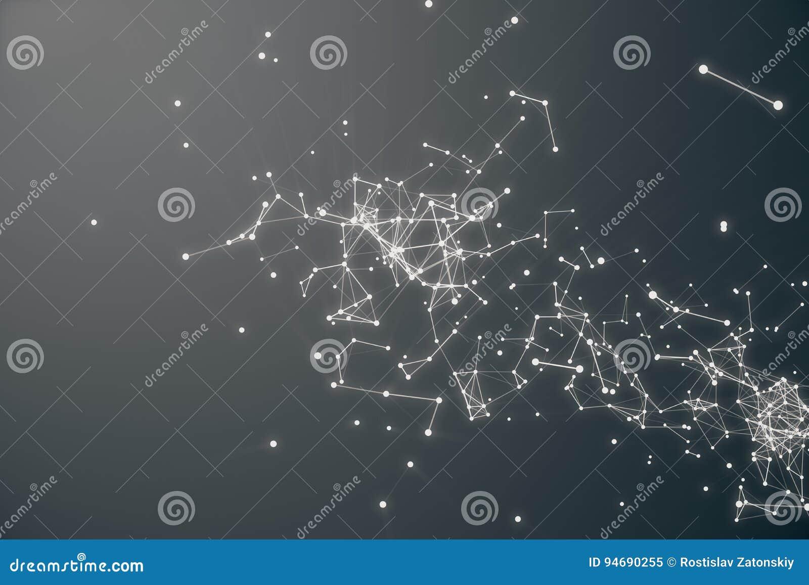 Forme futuriste de connexion technologique Gray Dot Network Fond abstrait, Gray Background Concept de réseau