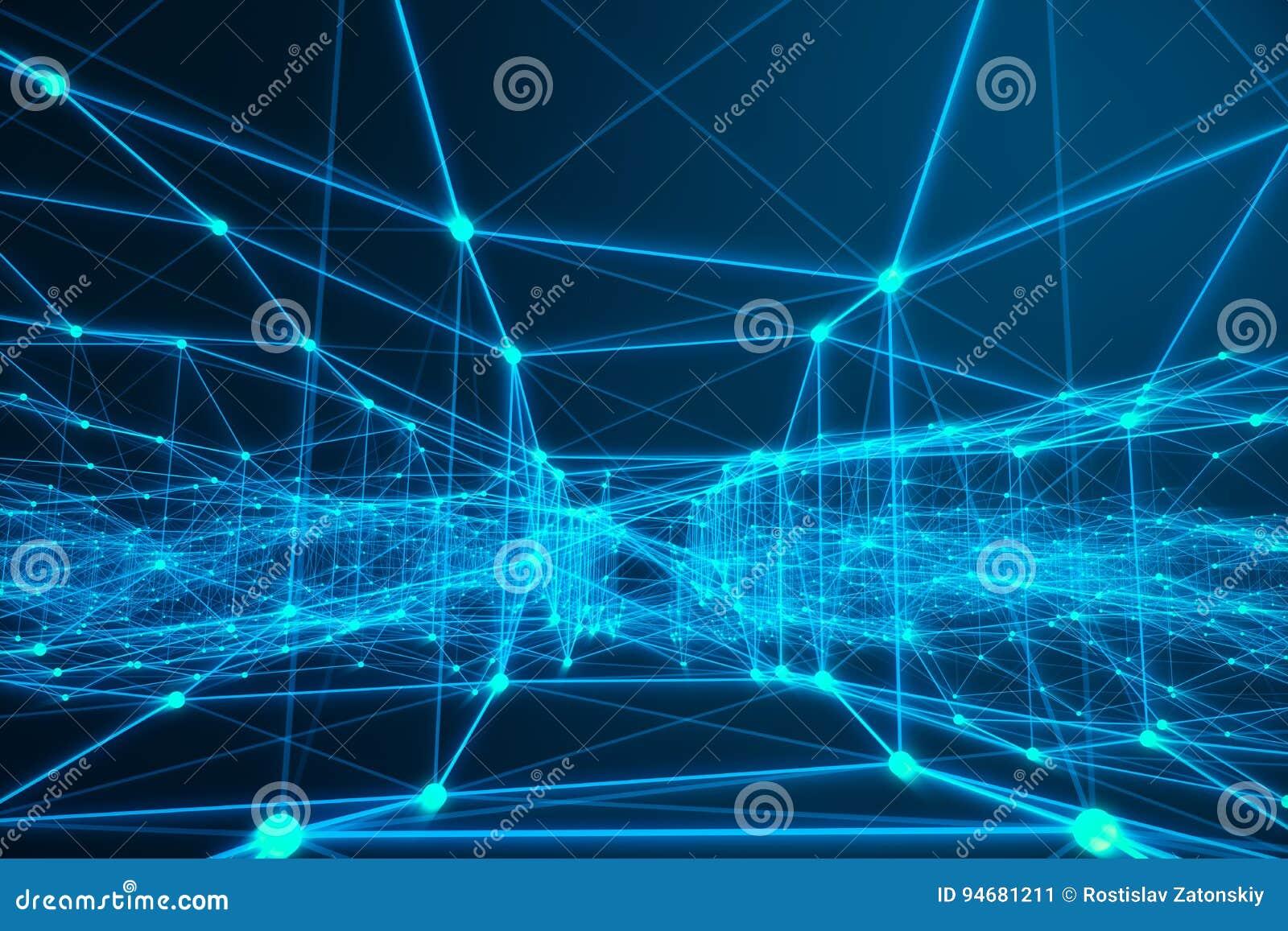 Forme futuriste de connexion technologique, réseau bleu de point, fond abstrait, fond bleu, concept de réseau
