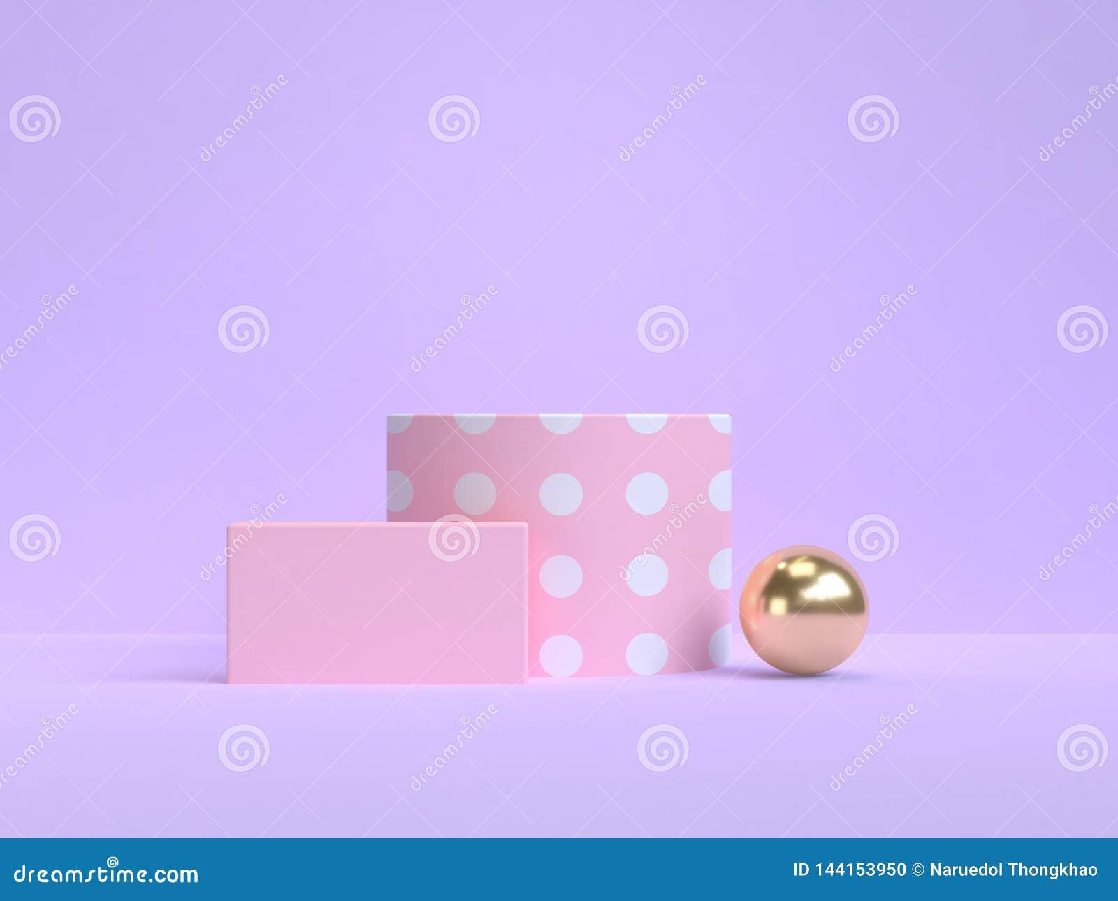 Forme géométrique 3d de fond d or minimal violet-pourpre de rose rendre