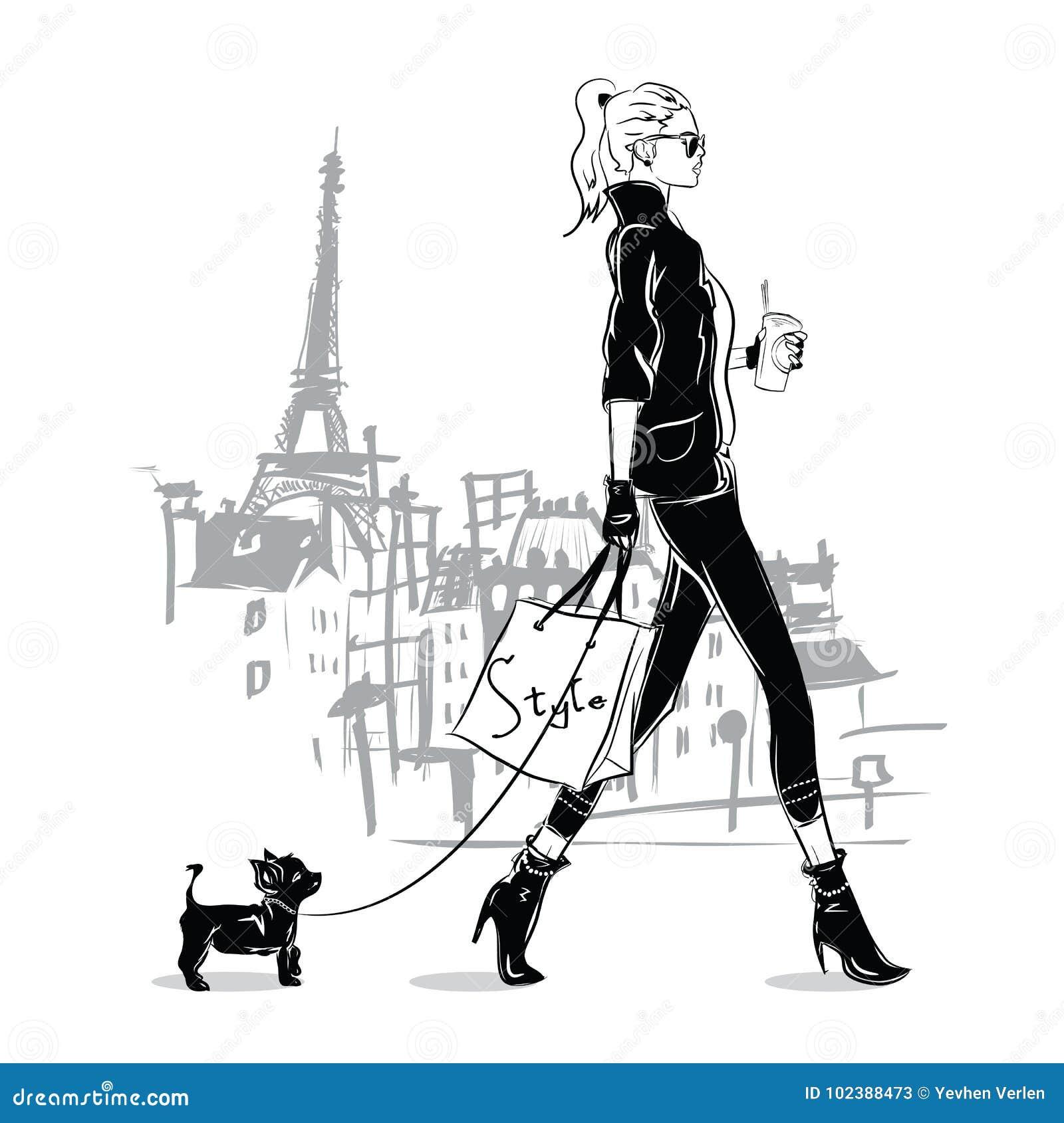 Forme a la muchacha en estilo del bosquejo con un pequeño perrito en París