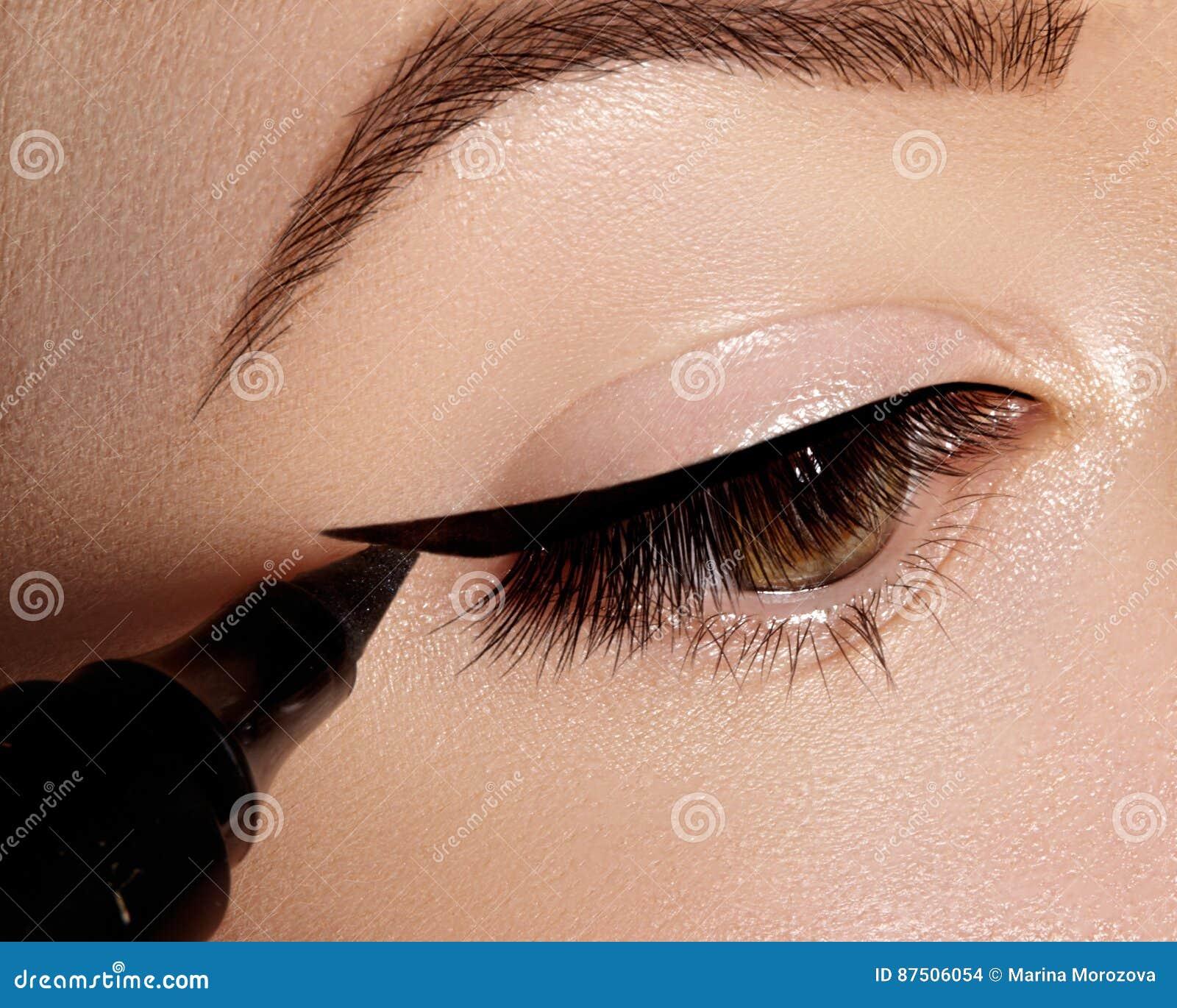 Forme a la mujer que aplica lápiz de ojos en el párpado, pestaña Usando cepillo del maquillaje, forme la línea negra Artista de m