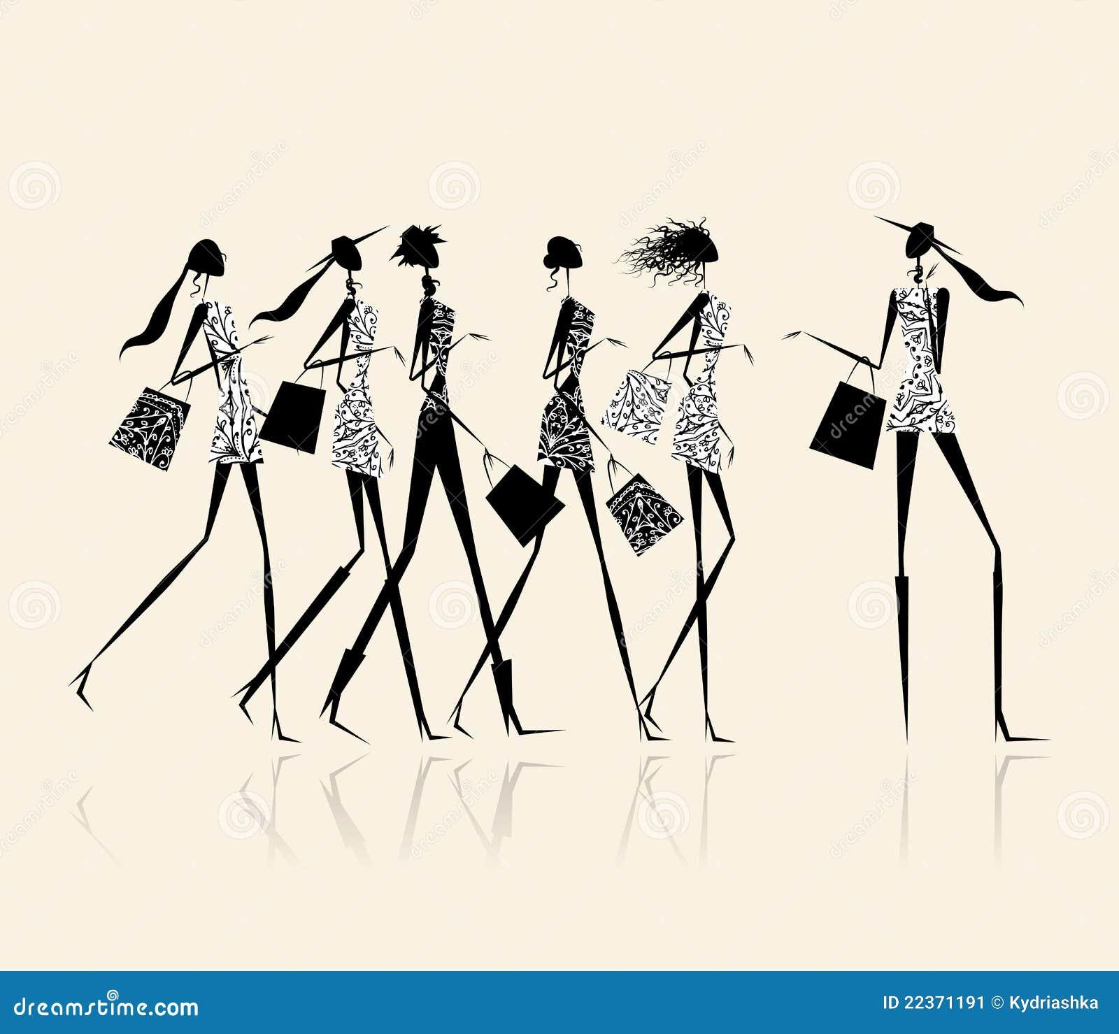 Forme a las muchachas con los bolsos de compras, ilustración