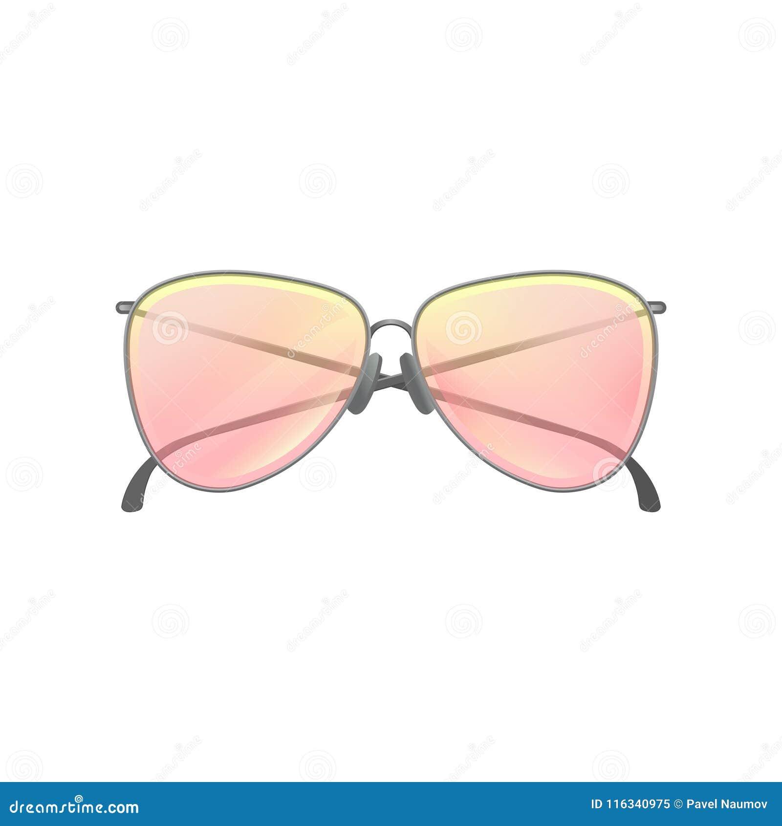 b3e09f241bf32 Forme a mulheres óculos de sol com as lentes amarelo-cor-de-rosa do  inclinação e quadro de prata fino Acessório à moda Ícone do eyewear  protetor Ilustração ...