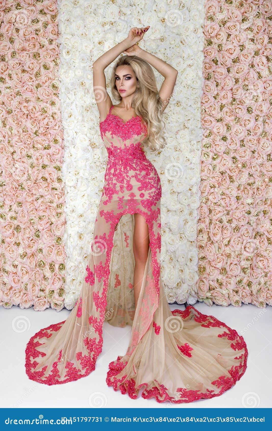 Forme a noiva no retrato lindo do est?dio do vestido de casamento Menina modelo bonita com composição nupcial e penteado no laço