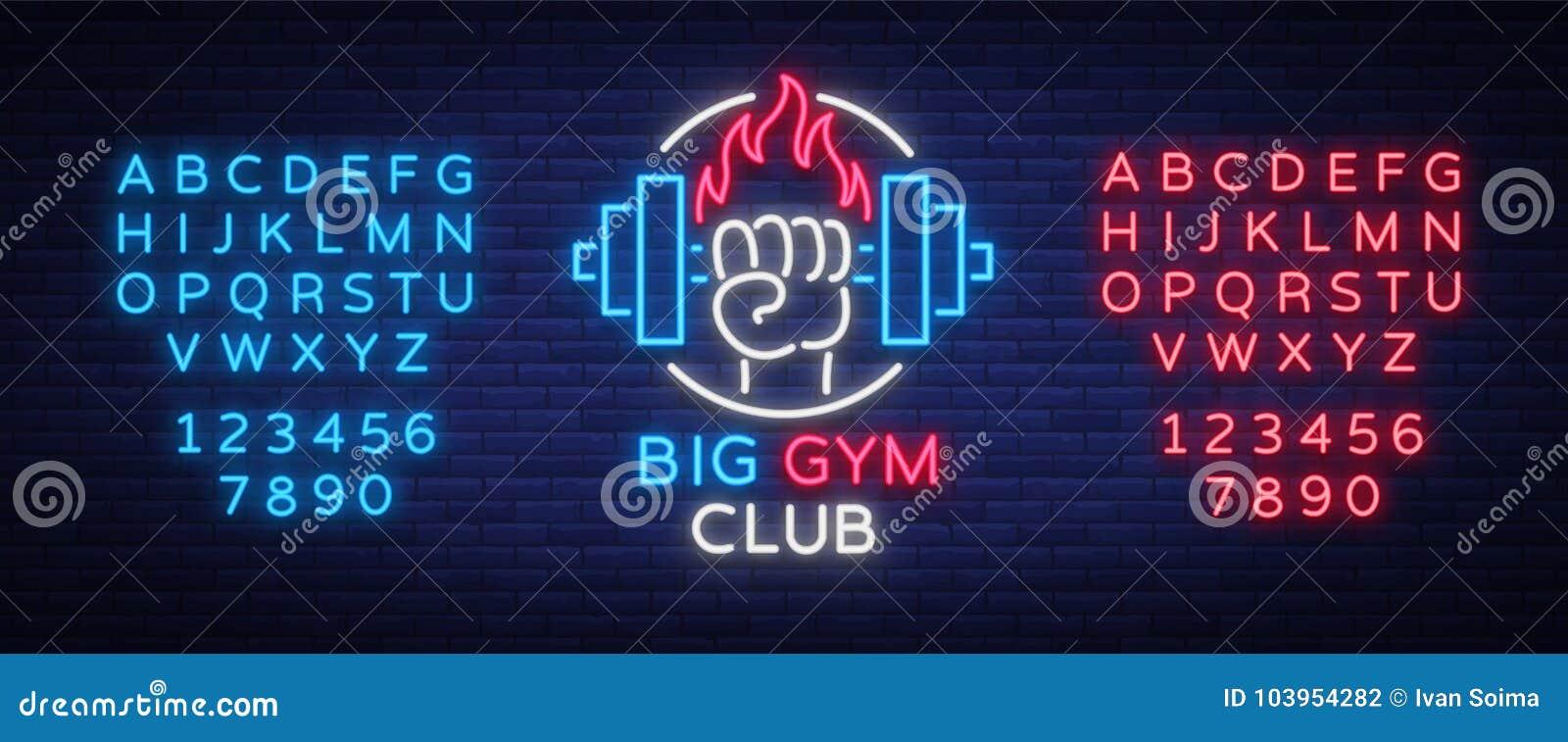 Forme physique, style au néon de connexion de logo de gymnase d isolement, illustration de vecteur Une bannière rougeoyante, un e