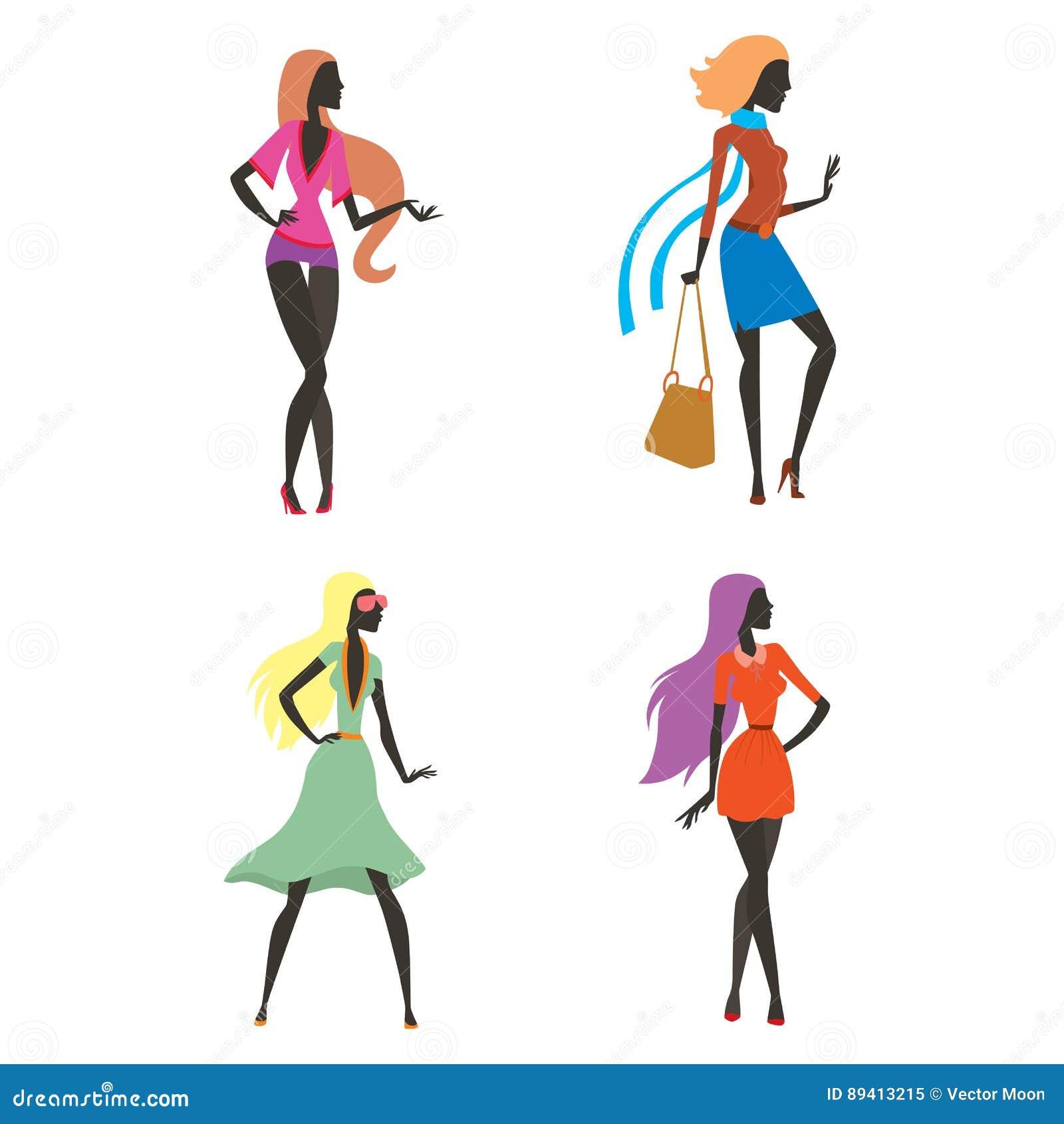 Forme a silhueta da menina do olhar a mulher bonita da menina fêmea e bonita, novo, modelo, estilo, cabelo, encanto do caráter da