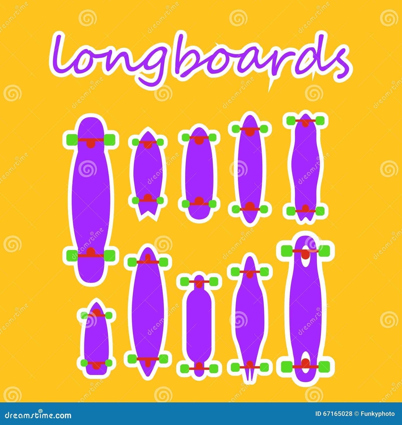 formen und arten longboard auf einem farbigen hintergrund stock abbildung bild 67165028. Black Bedroom Furniture Sets. Home Design Ideas