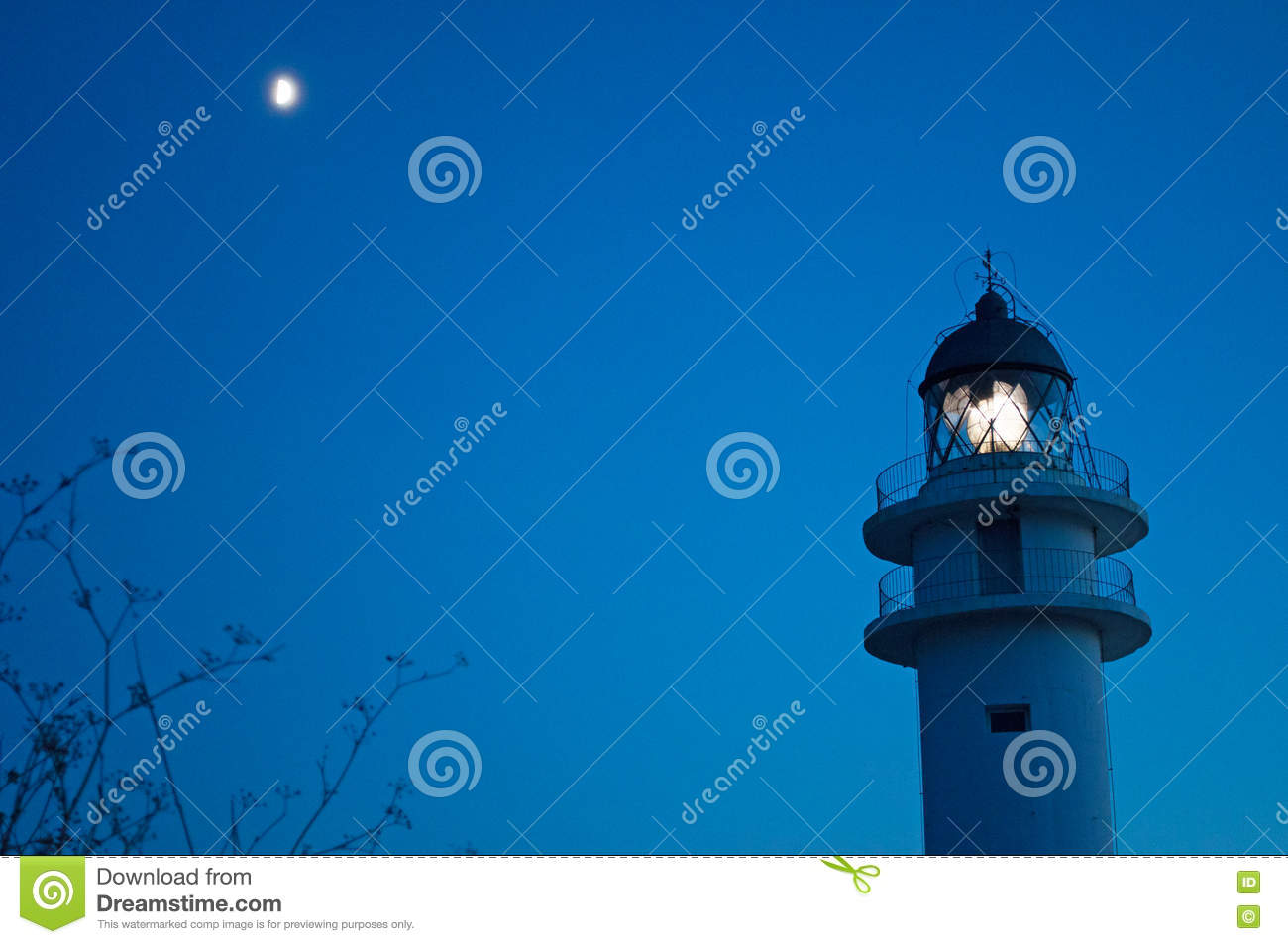 Formentera, Balearic Islands, Spain, Europe, lighthouse, Cap de Barbaria, sunset point, night, moon, moonlight, nature, landscape