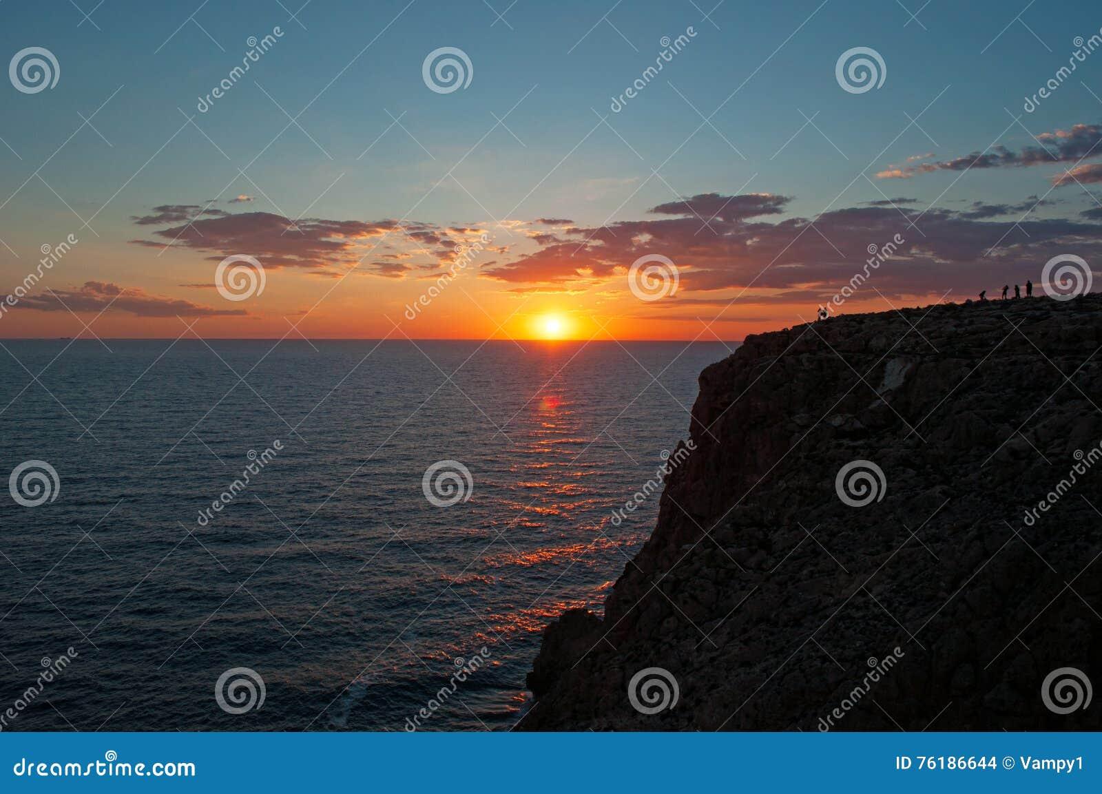 Formentera, Balearic Islands, Spain, Europe, sunset, cliff, Cap de Barbaria, sunset point, Mediterranean Sea, nature, landscape
