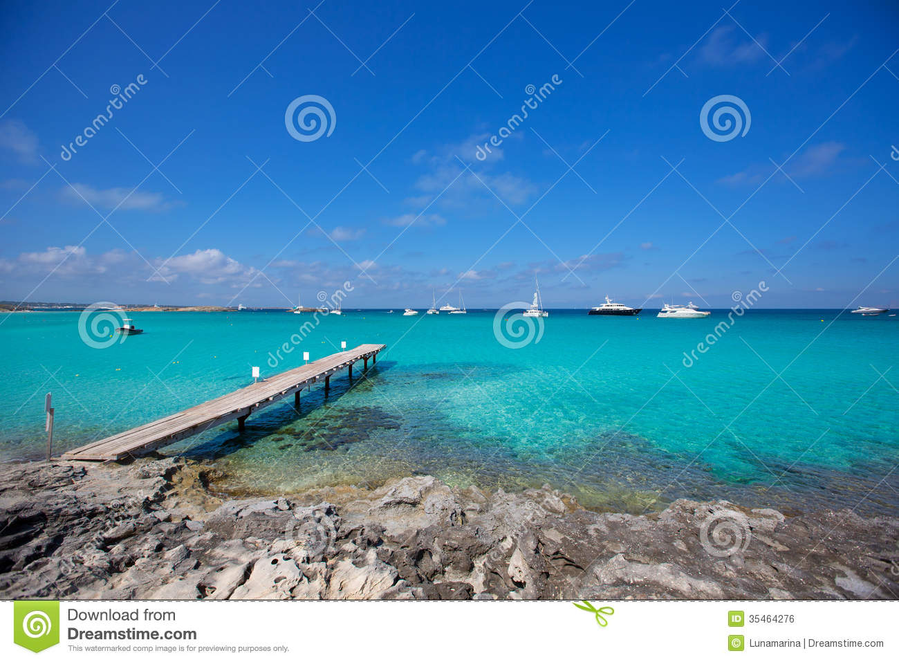 Formentera Tropical Mediterranean Sea Wooden Pier Stock ...