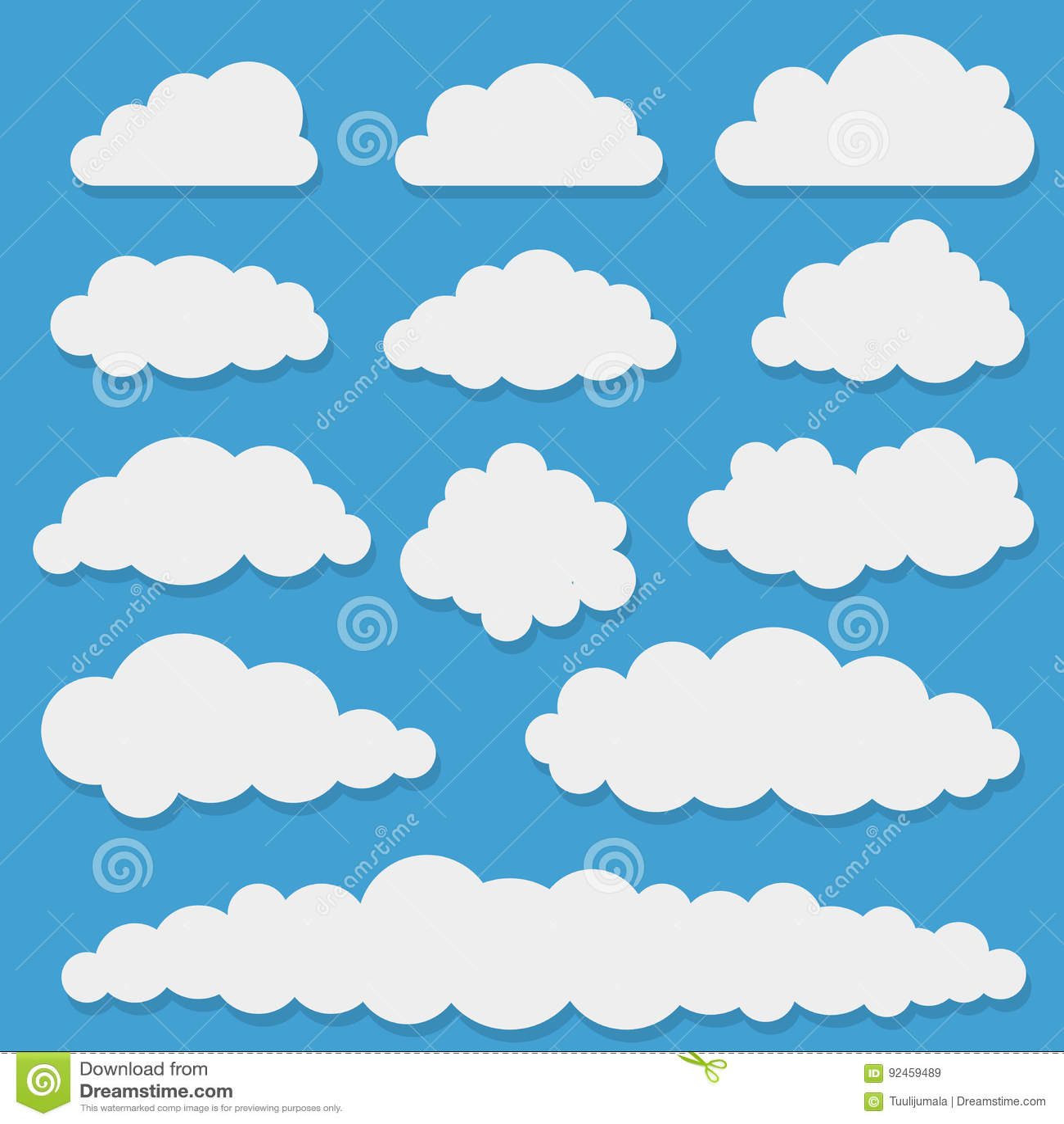 Formes blanches comiques de nuage