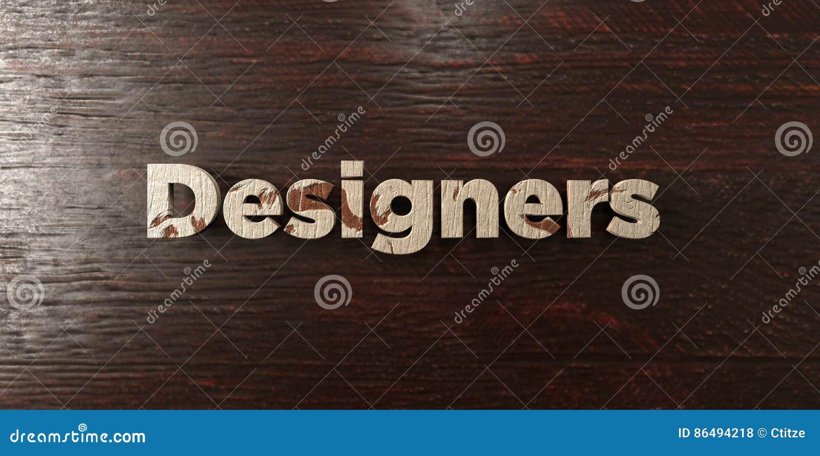 Formgivare - grungy trärubrik på lönn - 3D framförd fri materielbild för royalty