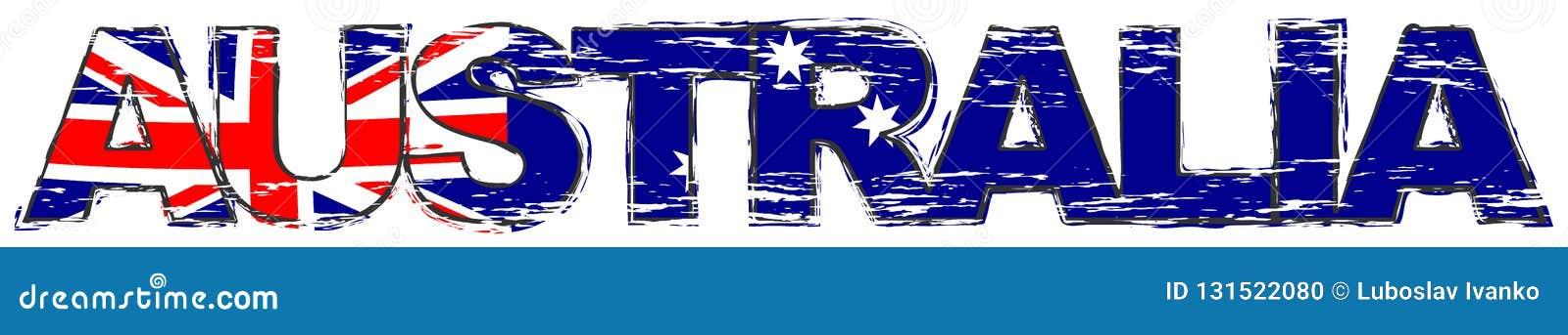 Formułuje AUSTRALIA z Australijską flagą państowową pod nim, zakłopotany grunge spojrzenie