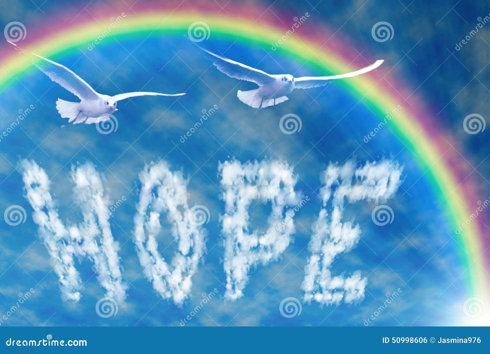 Formułuje nadzieję w niebie, pod tęczą