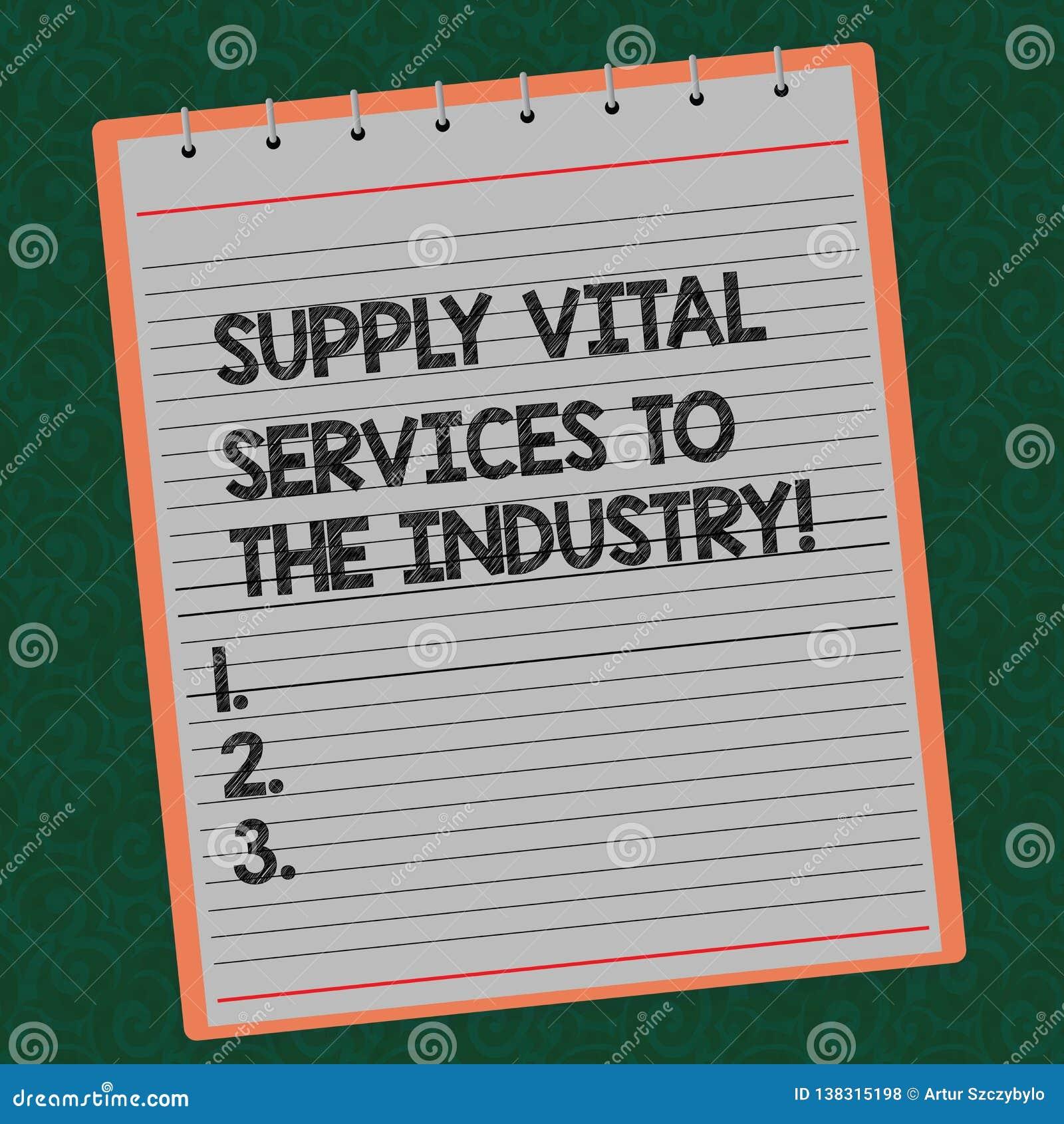 Formułuje pisać tekstowi Zaopatrzeniowe Zasadnicze usługi przemysł Biznesowy pojęcie dla źródło zasilania dla firma Wykładającej
