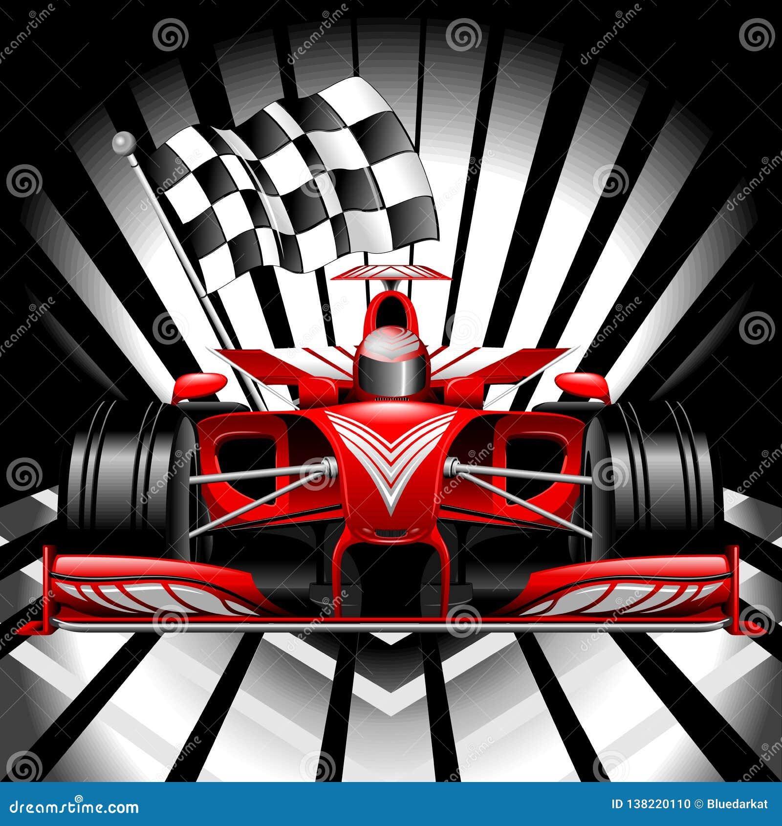 Formuły 1 Czerwony samochód wyścigowy z W kratkę flagą na Czarnej tło wektoru ilustracji