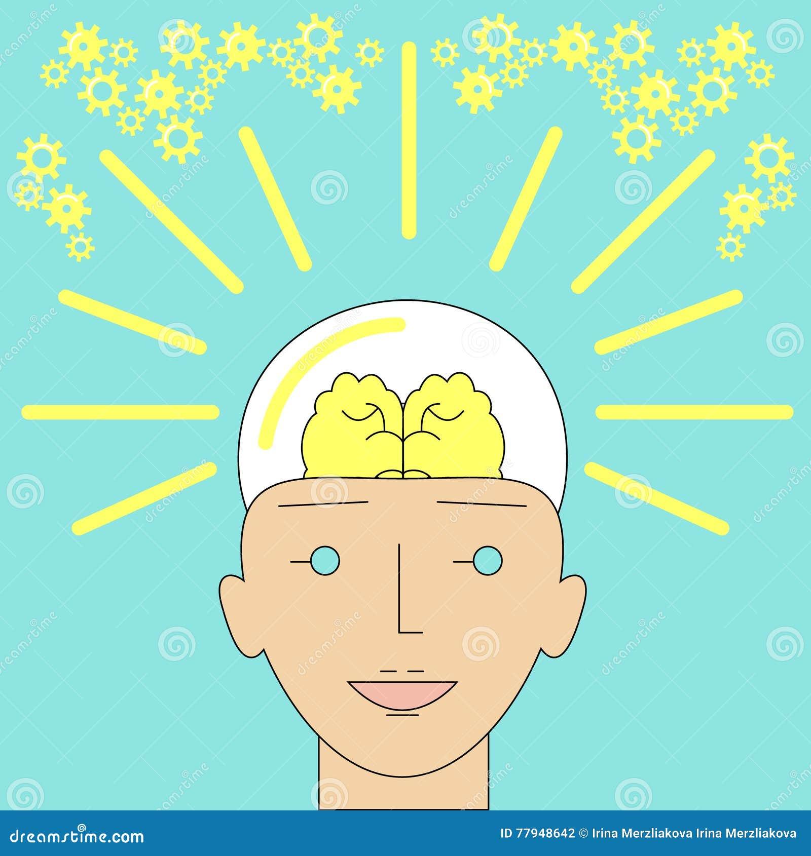 Formulário brilhante novo da ideia de uma cabeça humana como uma ampola criativa mim