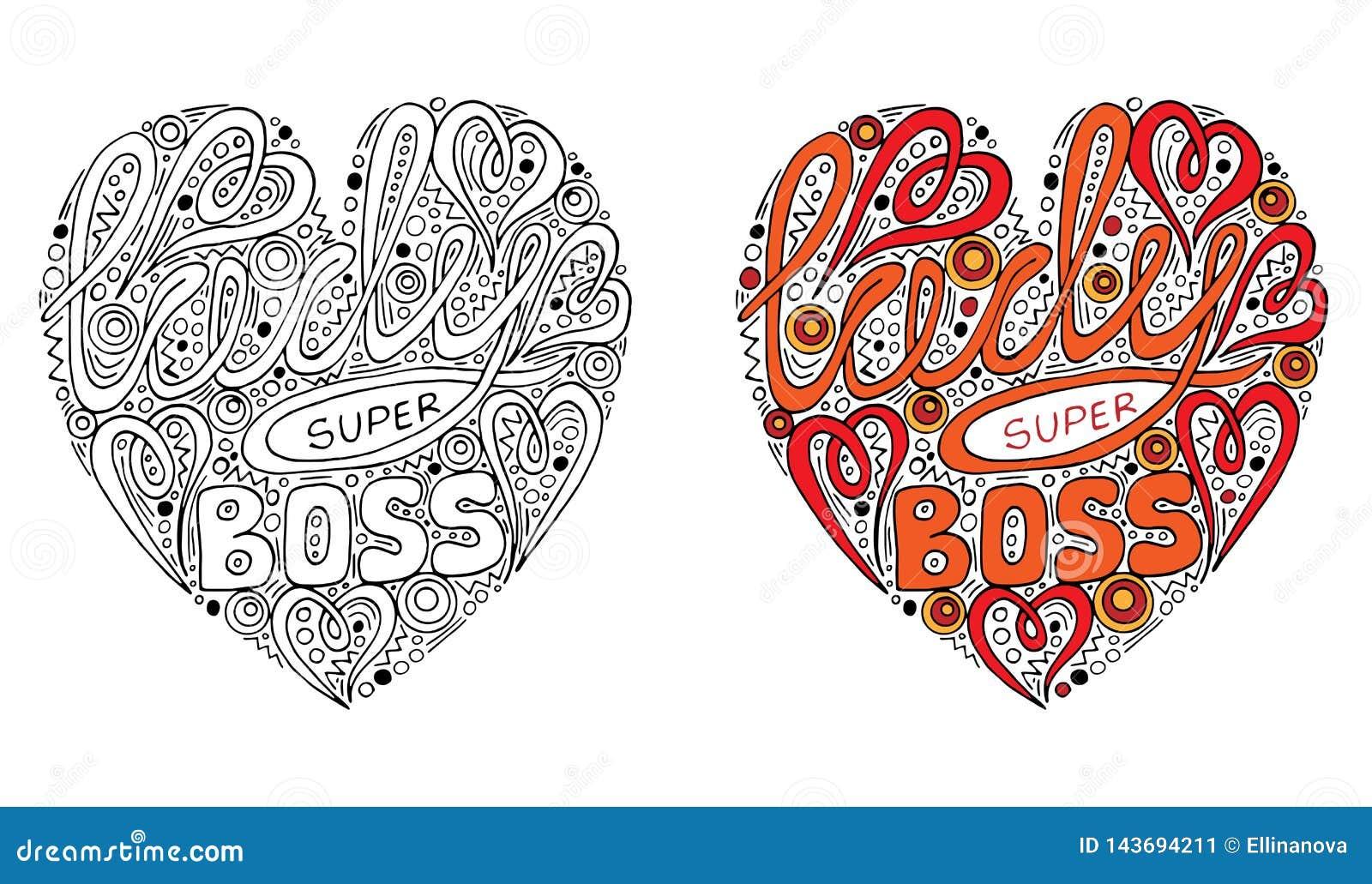 Formulário colorido do coração do vetor com texto super do chefe da senhora para o livro para colorir