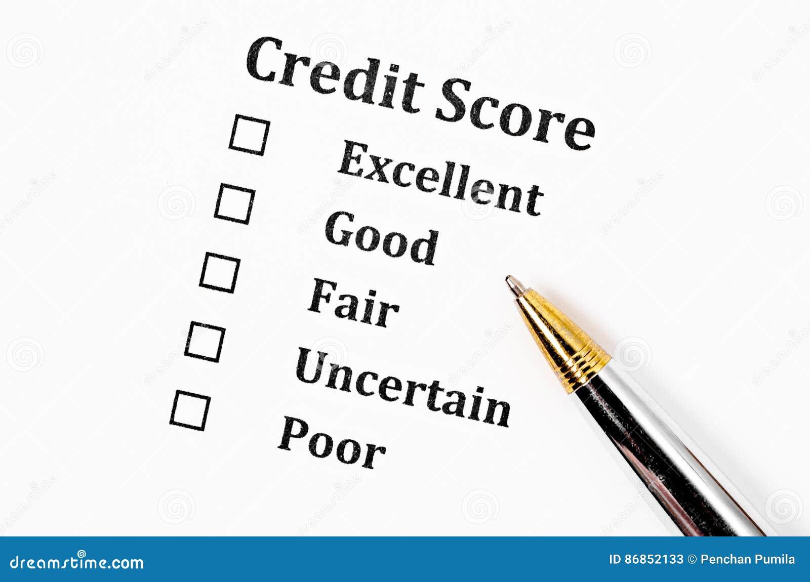Formulário da pontuação de crédito