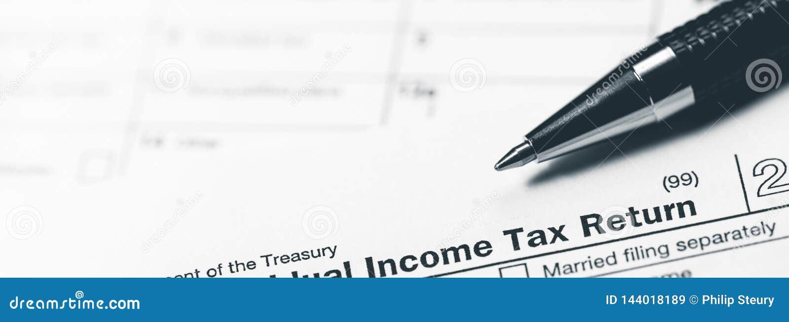 Formulário de declaração de rendimentos da renda com pena