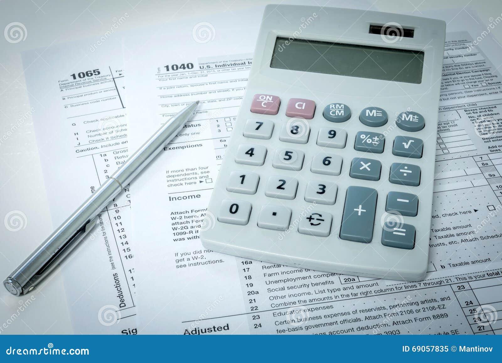 Formulário de imposto dos E.U.