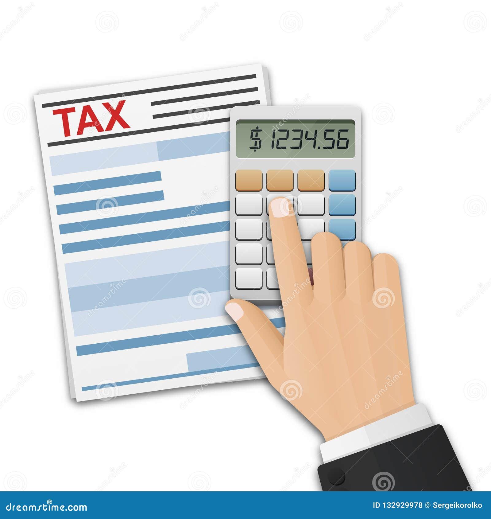 Formulário de imposto, e a mão do homem, impostos da contagem na calculadora Cálculo do imposto, pagamento ou conceito do retorno