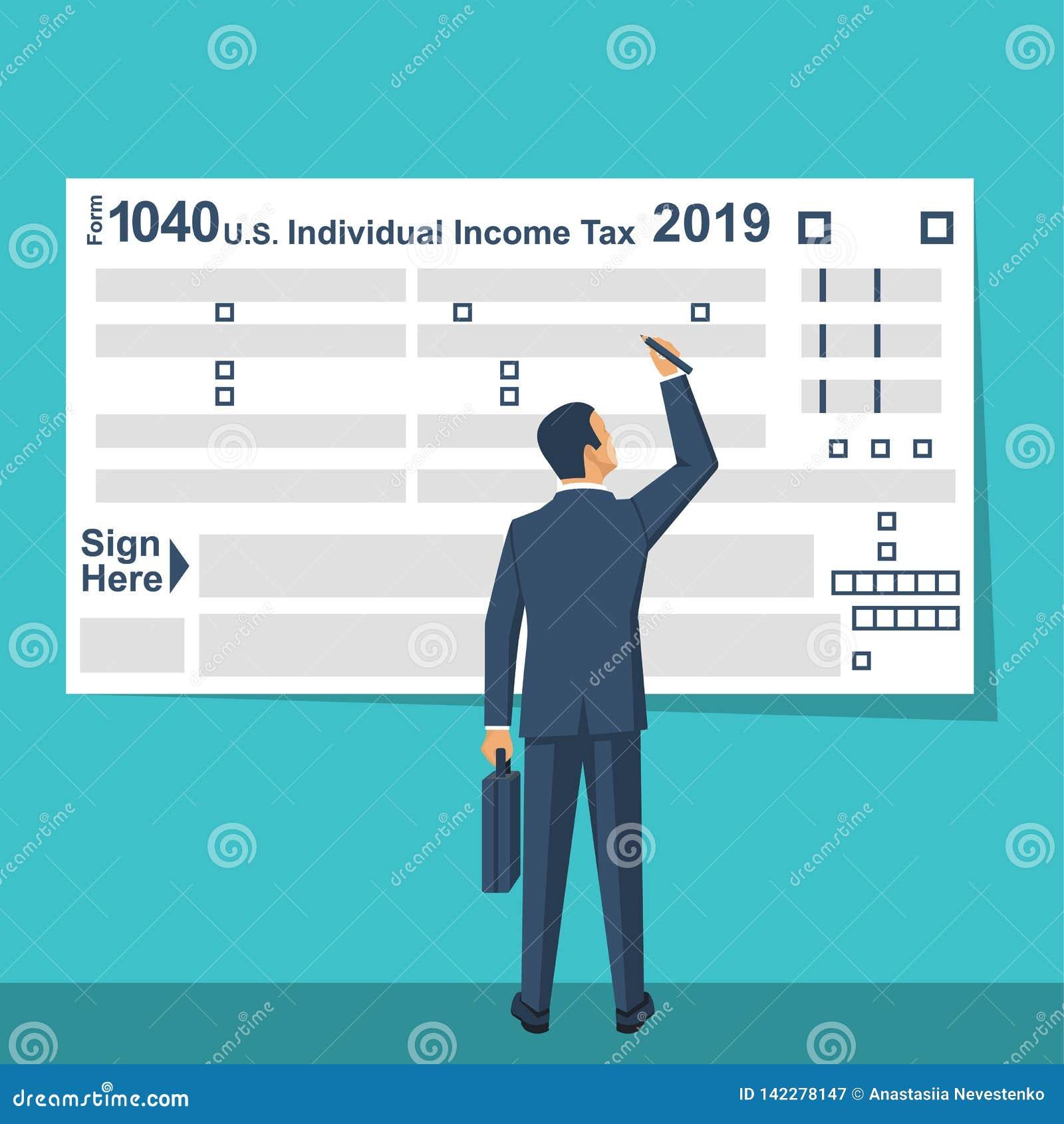 Formulário de imposto de Fills E.U. do homem de negócios