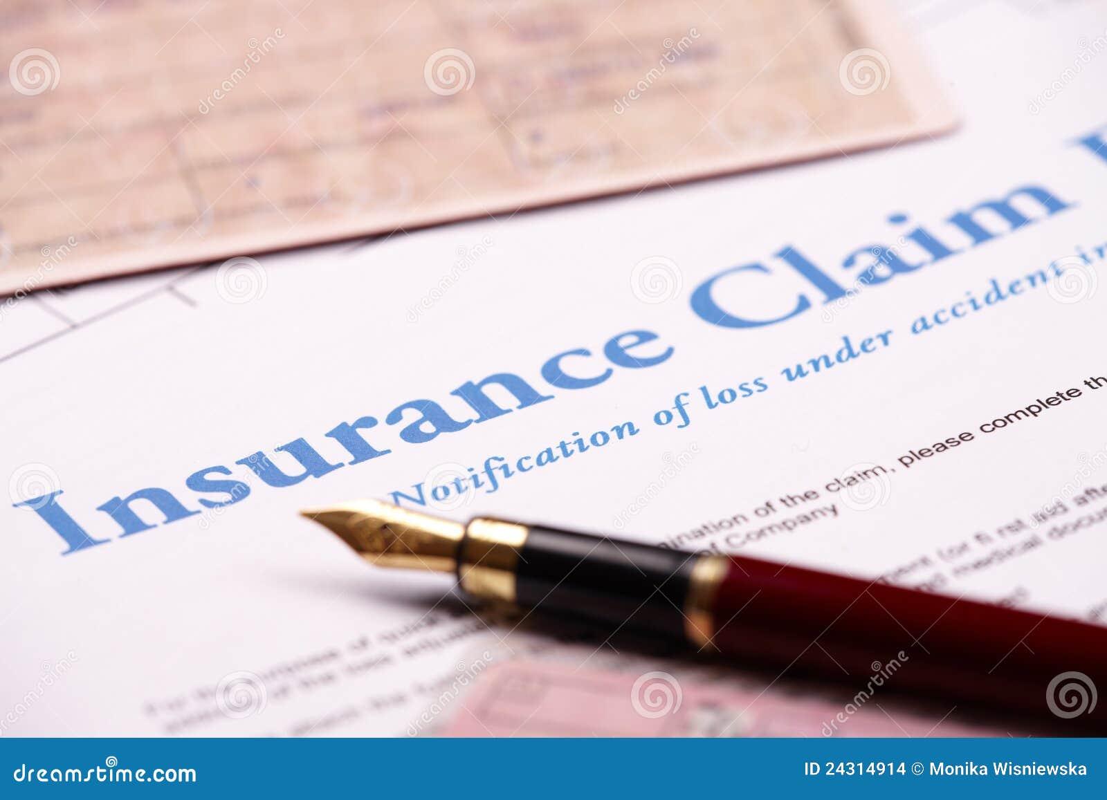 Formulário de reivindicação em branco do seguro