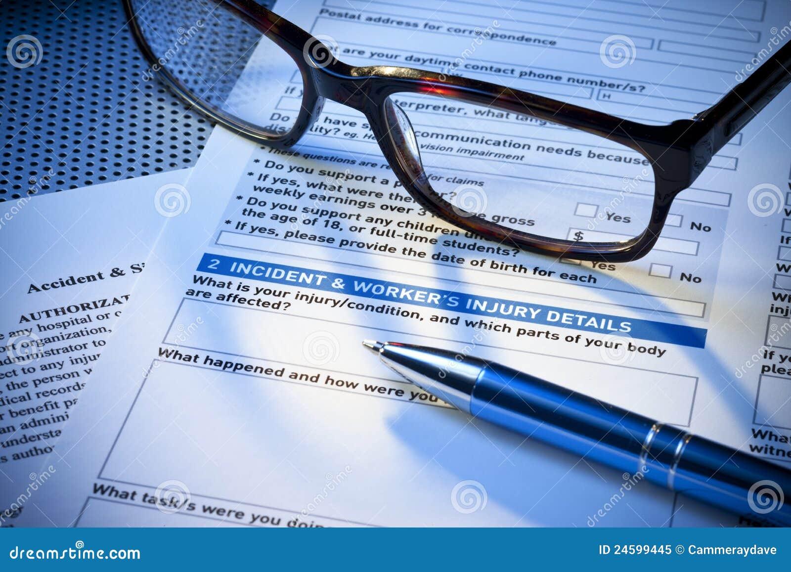 Formulário de relatório de ferimento do seguro