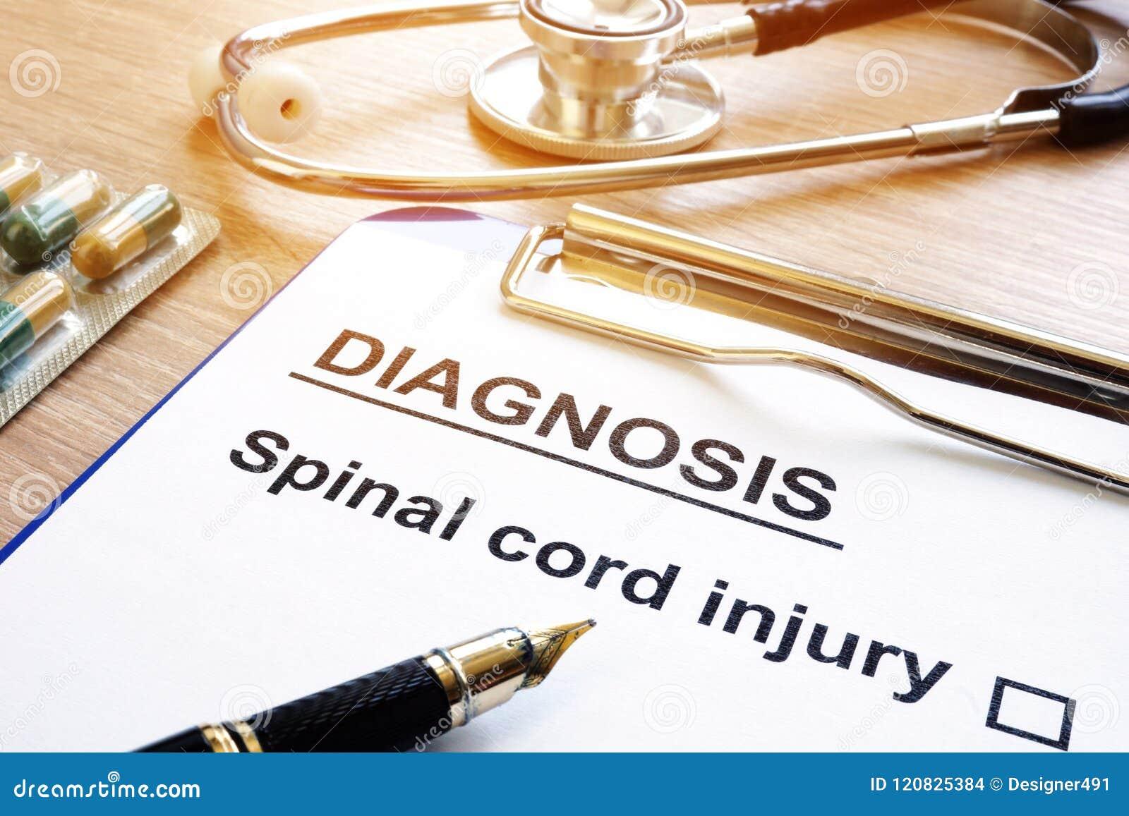 Formulário do diagnóstico com ferimento da medula espinal