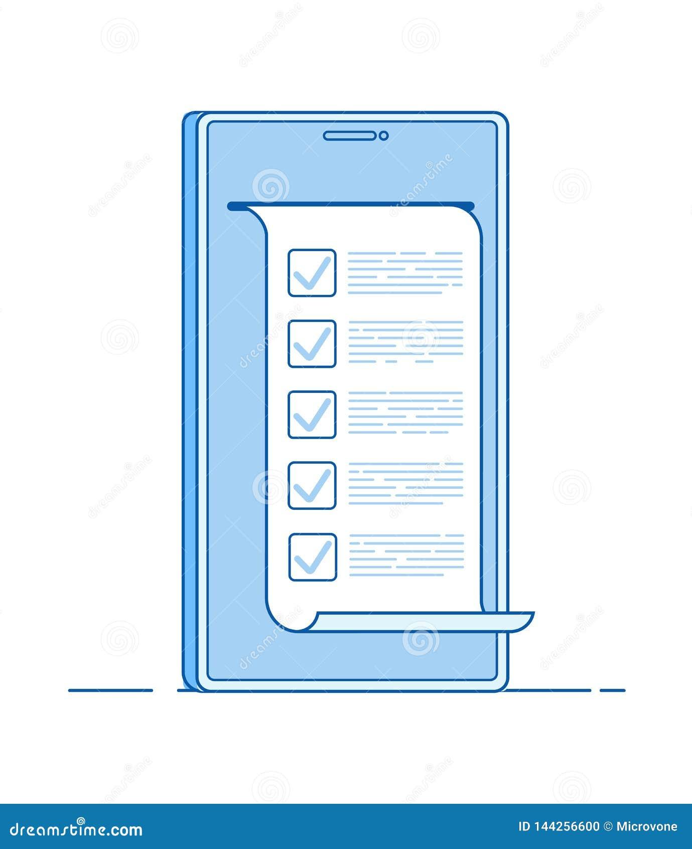 Formulário do questionário do computador do teste em linha no smartphone Para fazer em linha a lista que testa o vetor de votação