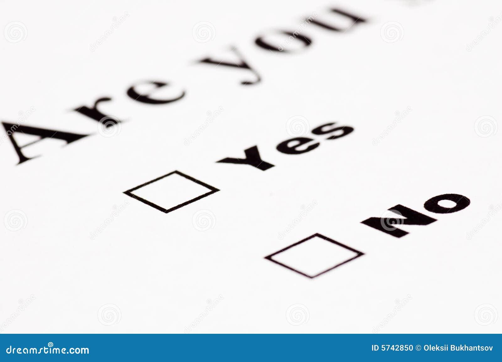 Formulário sim/não em branco