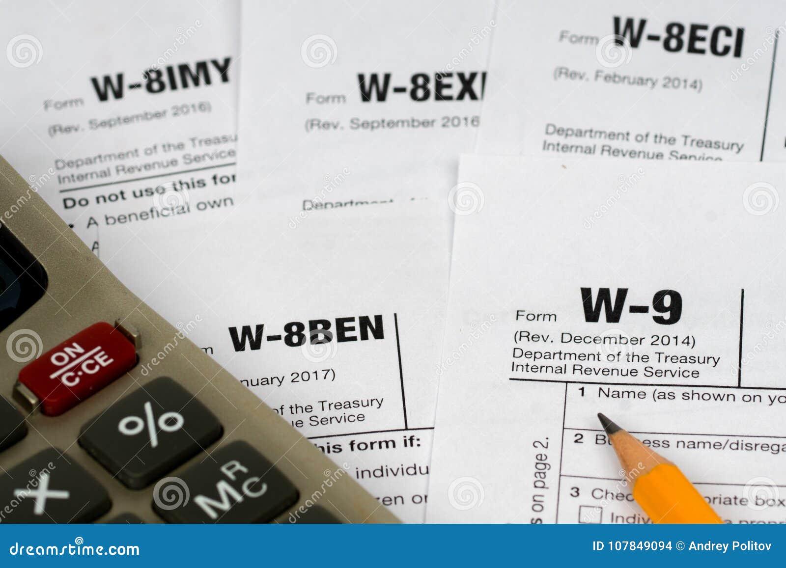Formulários de imposto de W-9 e de w-8ben