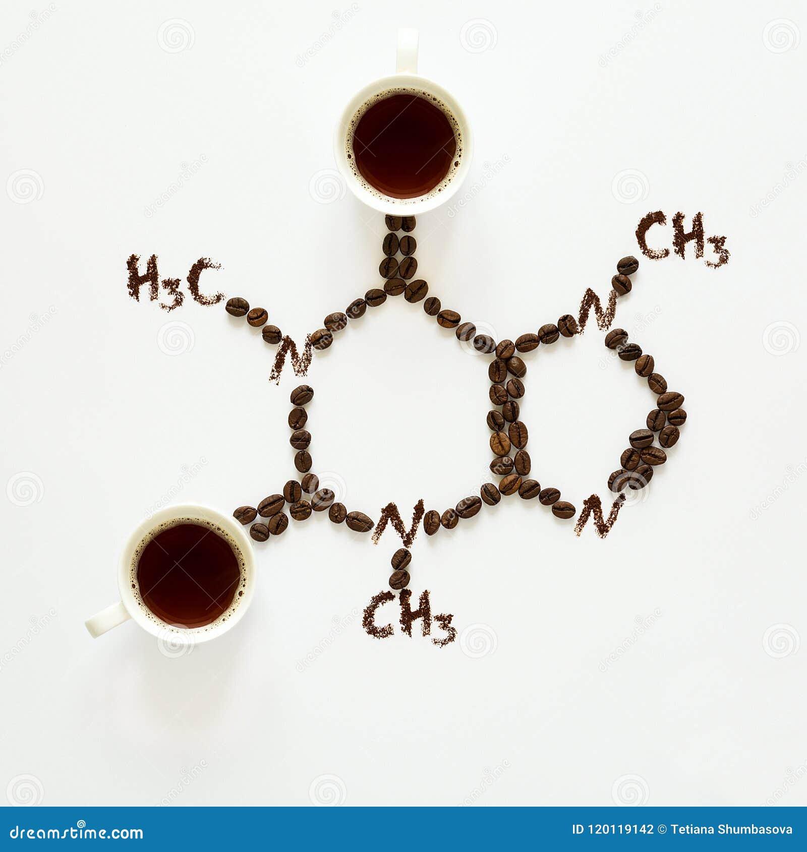 Formula chimica di caffeina Tazze di caffè espresso, dei fagioli e della polvere del caffè Alimento di arte Vista superiore