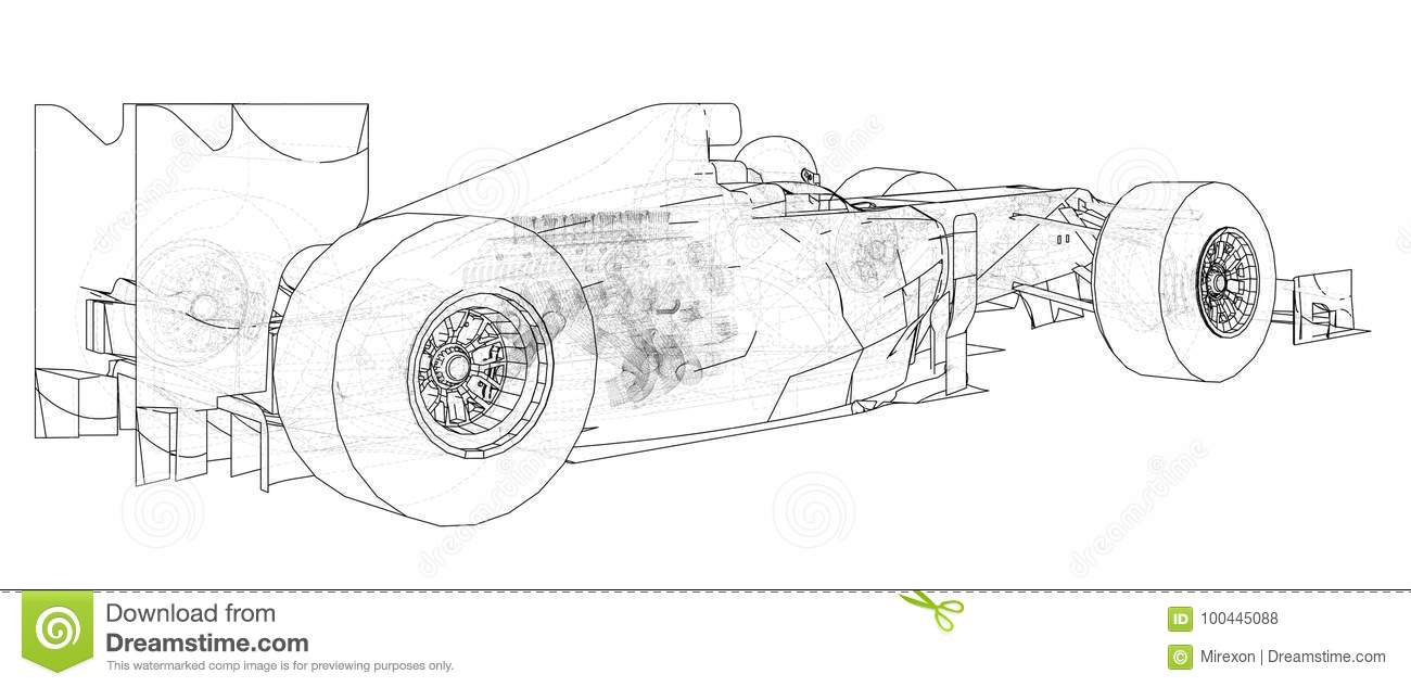 Formula Race Car. Abstract Drawing. Tracing Illustration Of 3d Stock ...
