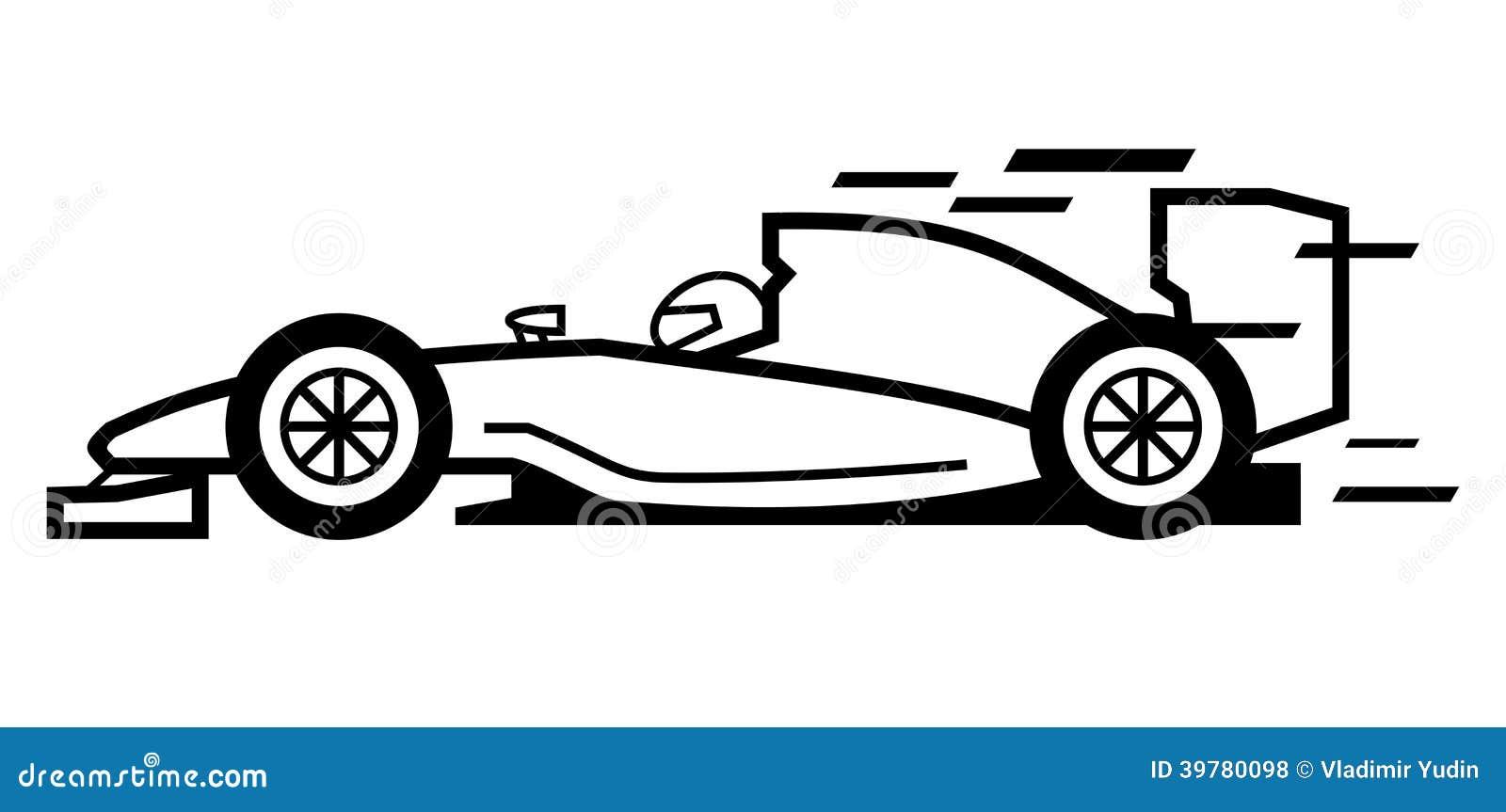 Car sticker design vector free - Vector Black Formula 1 On White Background