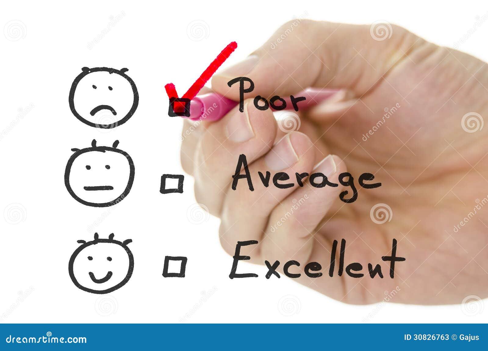 Formulario di valutazione di servizio di assistenza al cliente con il segno di spunta su povero