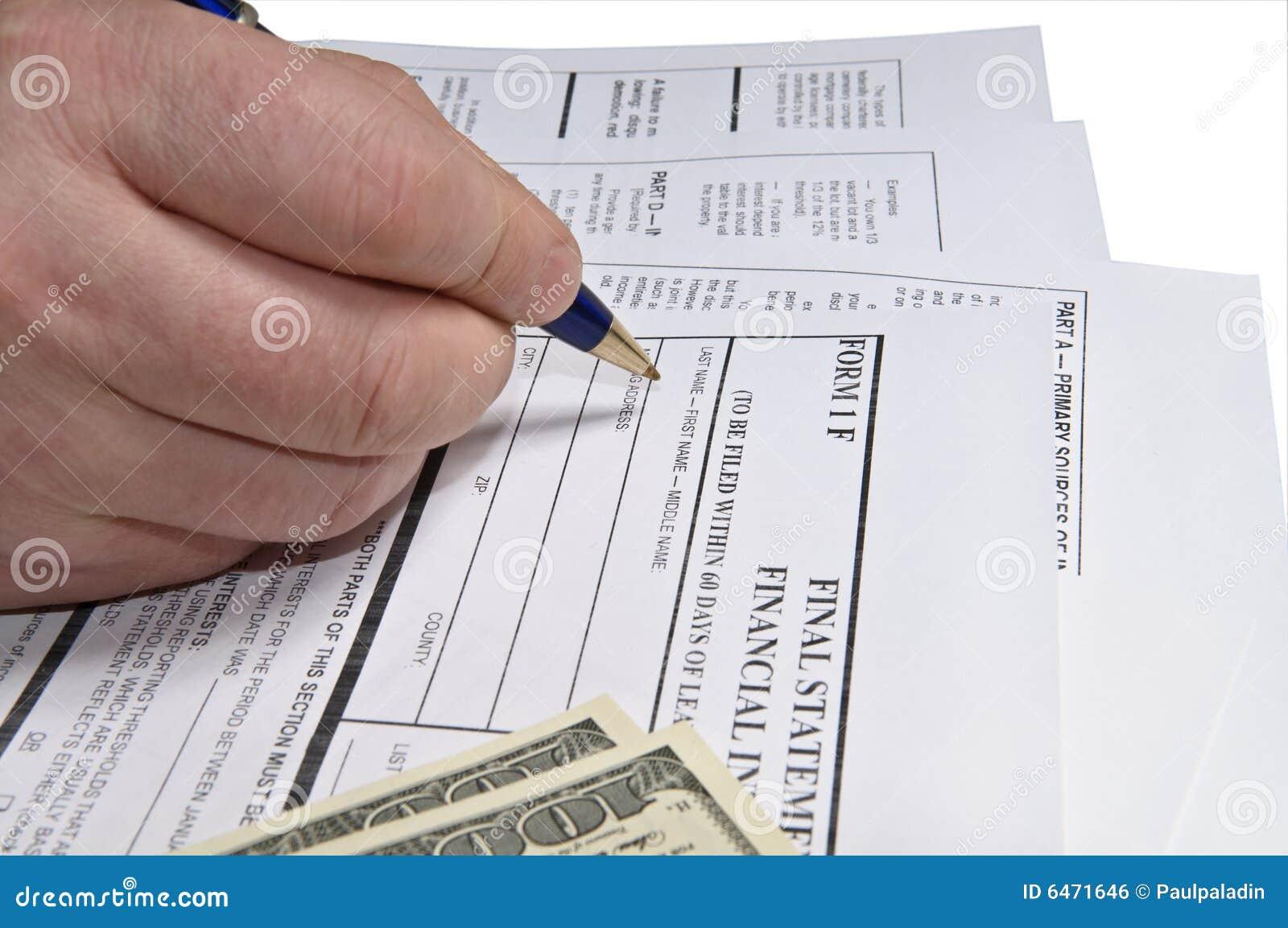 Formularz napełniające podatku dochodowego