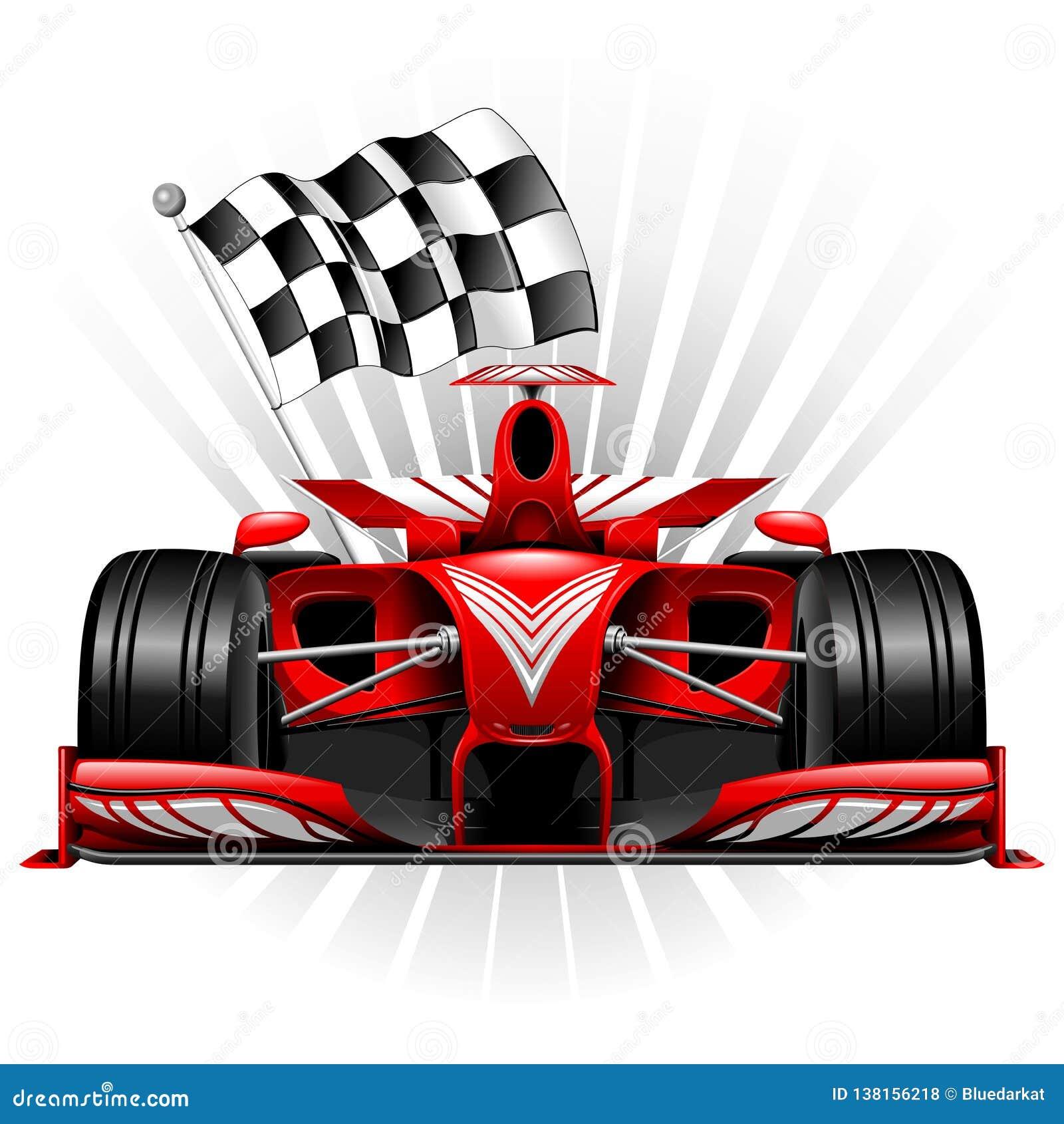 Formule 1 Rode Raceauto met Geruite Vlag Vectorillustratie