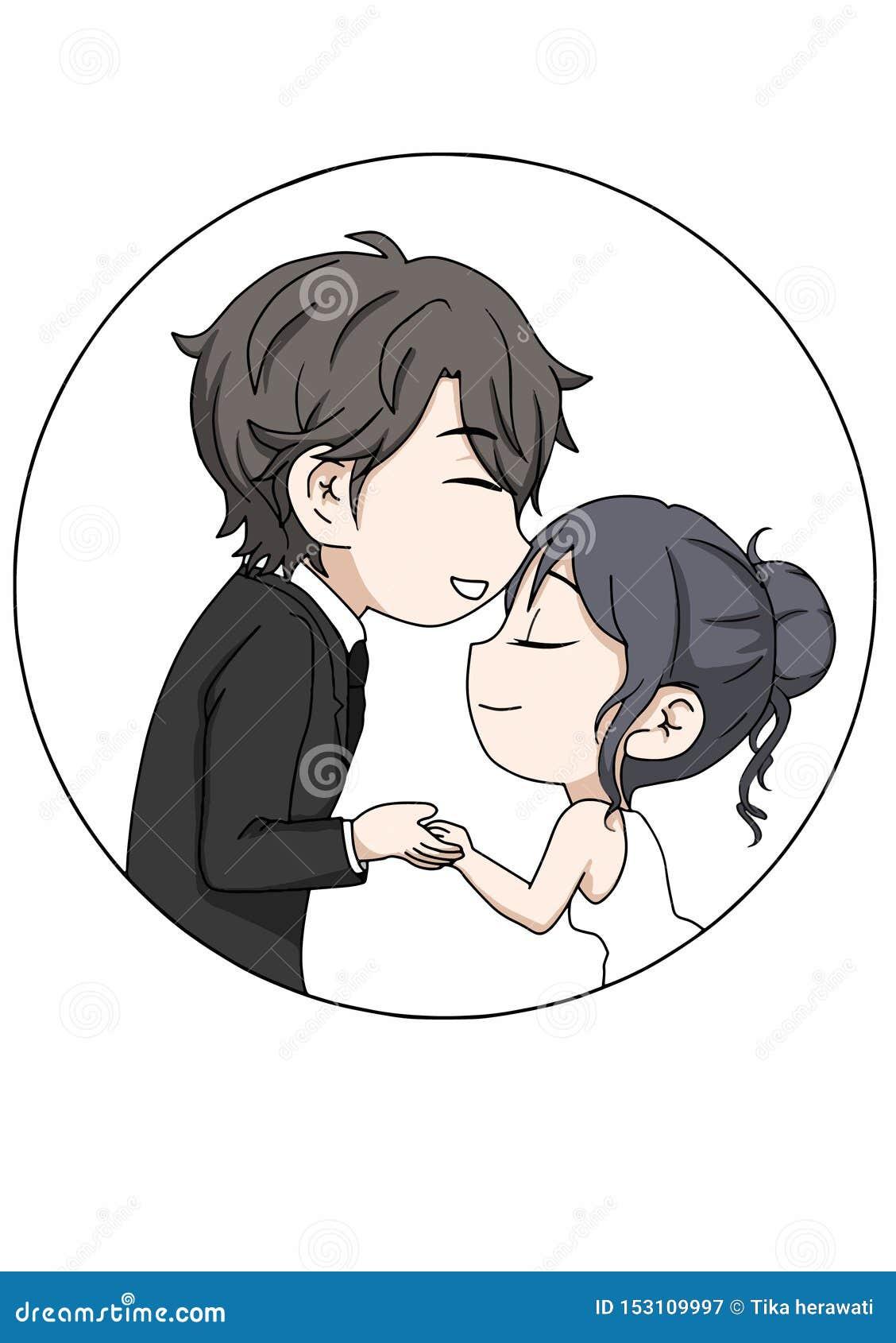 Fornala i panny młodej ślubu pary bezpłatny wektor, Wektorowa ilustracja