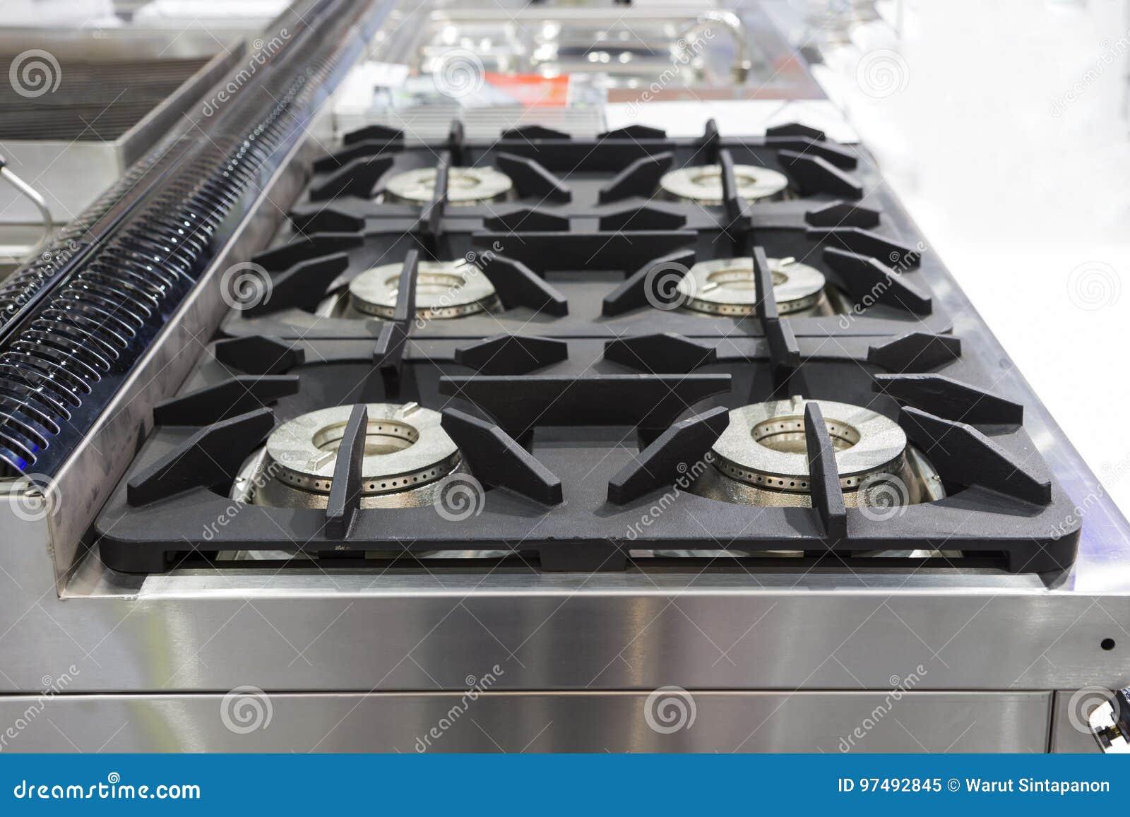 Fornello di gas bruciante della cucina; articolo da cucina moderno