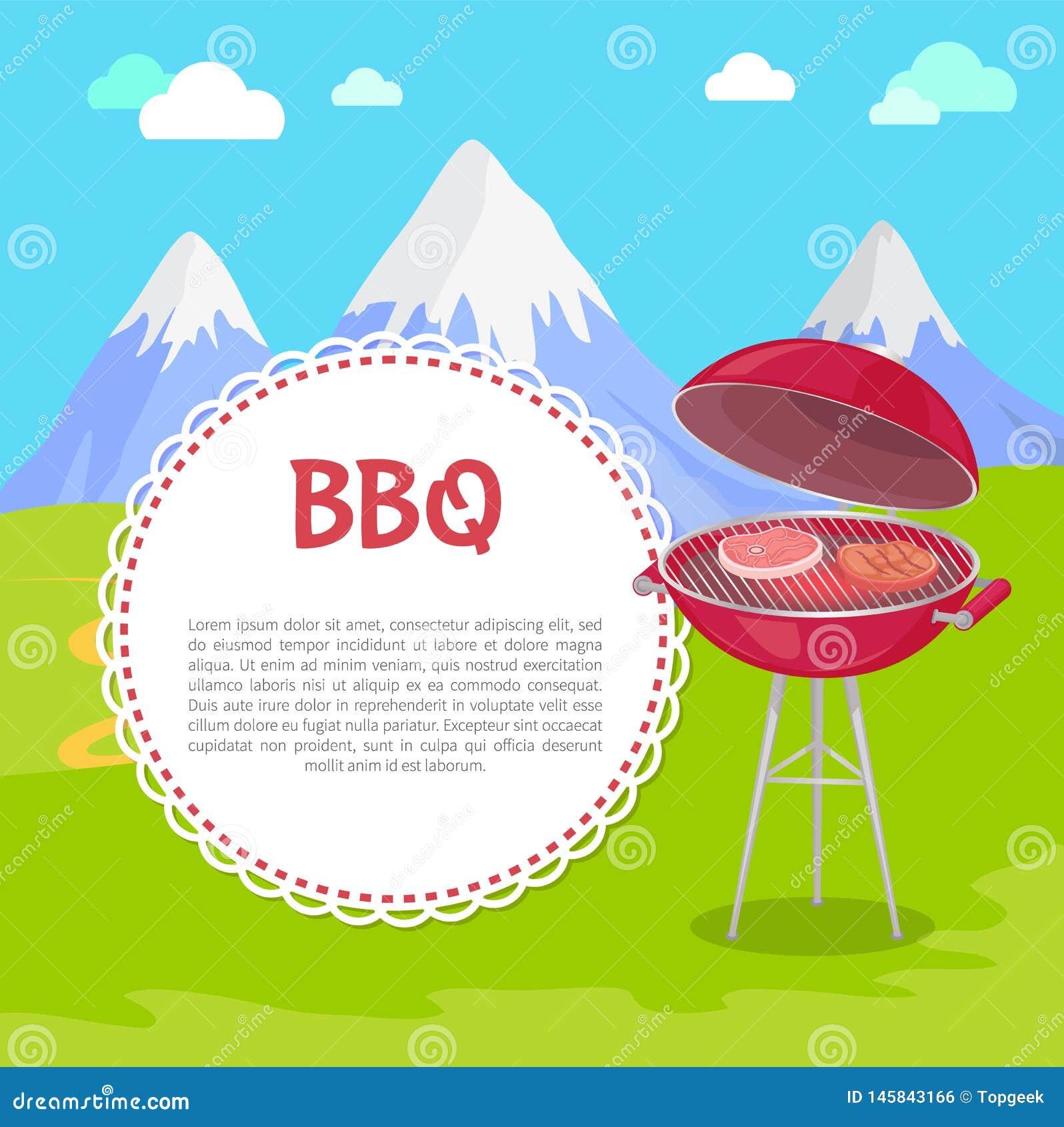 Forno con le bistecche su aria fresca, montagne della carne