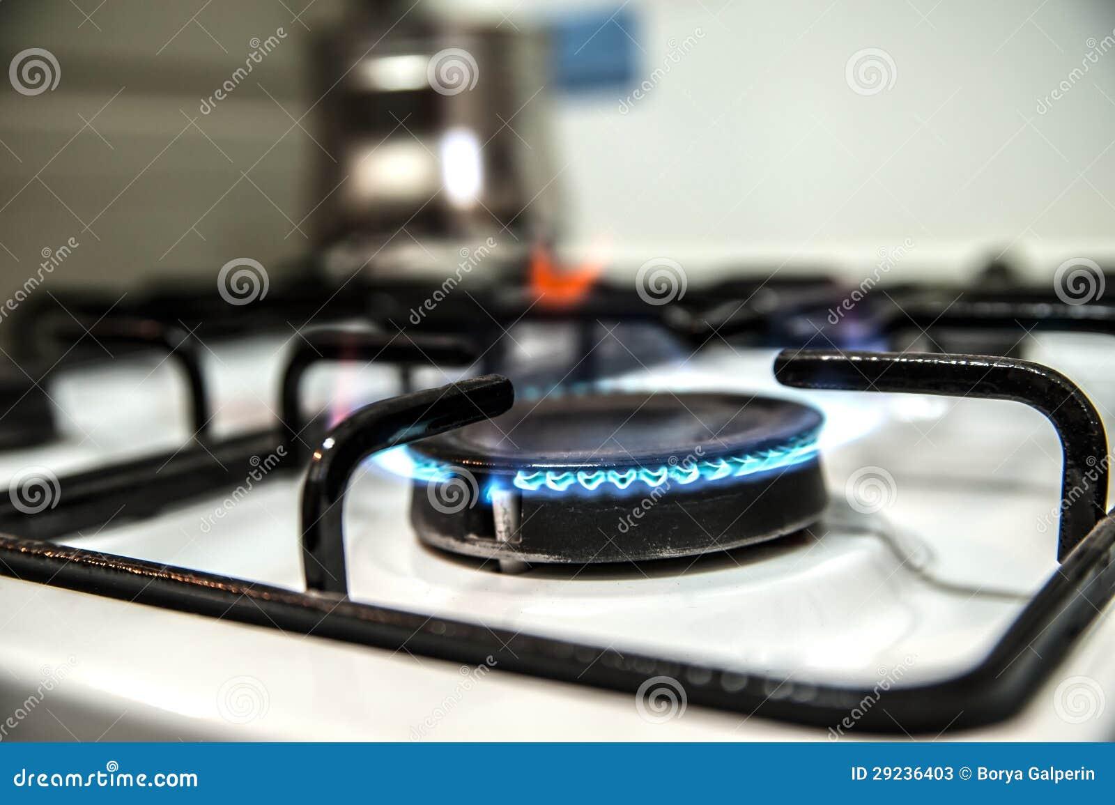 Download Forno De Gás Ardente Na Cozinha Imagem de Stock - Imagem de gás, azul: 29236403