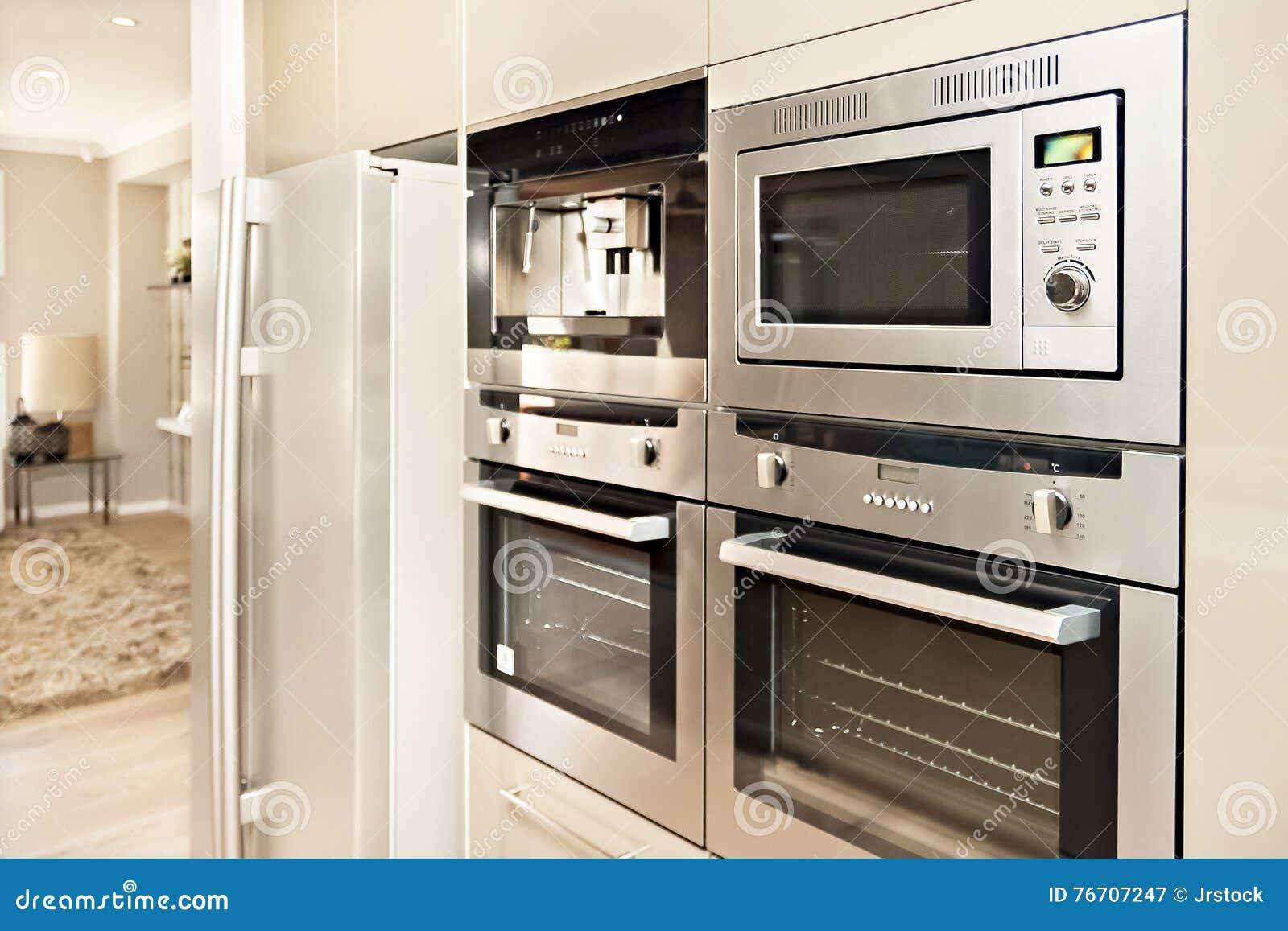 Forno moderno e frigorifero riparati alla parete con la - Cucina con dispensa ...