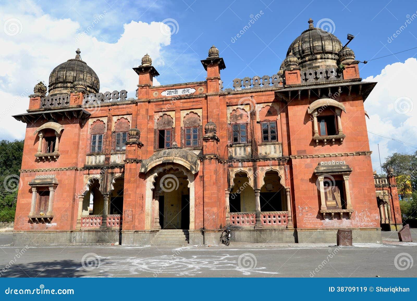 Forntida byggande Gandhi Hall av Indore