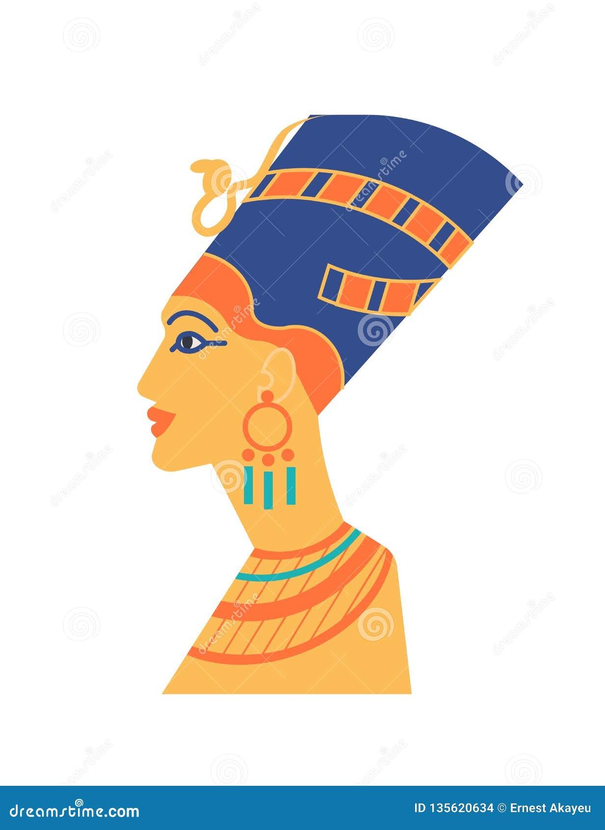 Forntida byst av Nefertiti eller Neferneferuaten - farao, drottning av Egypten, symbol av skönhet Skulptur av huvudet för kvinna