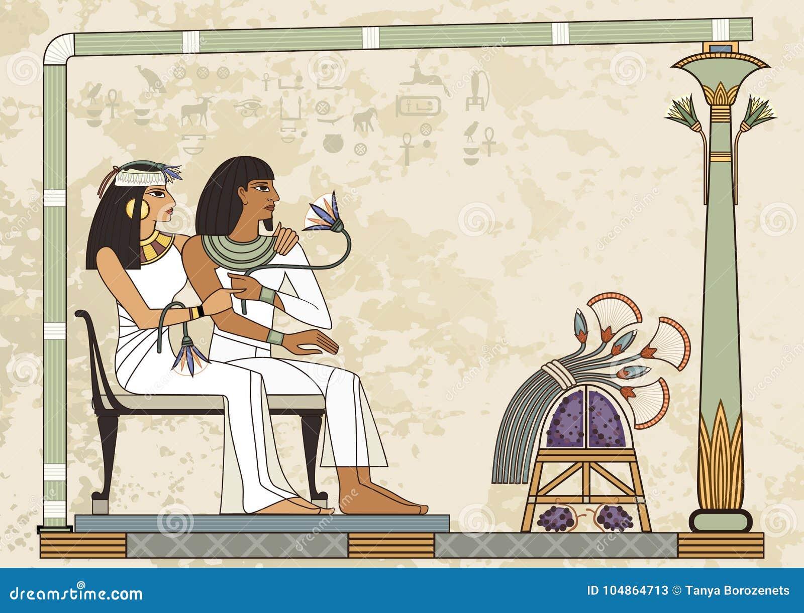 Forntida Egypten baner Egyptisk hieroglyf och symbol