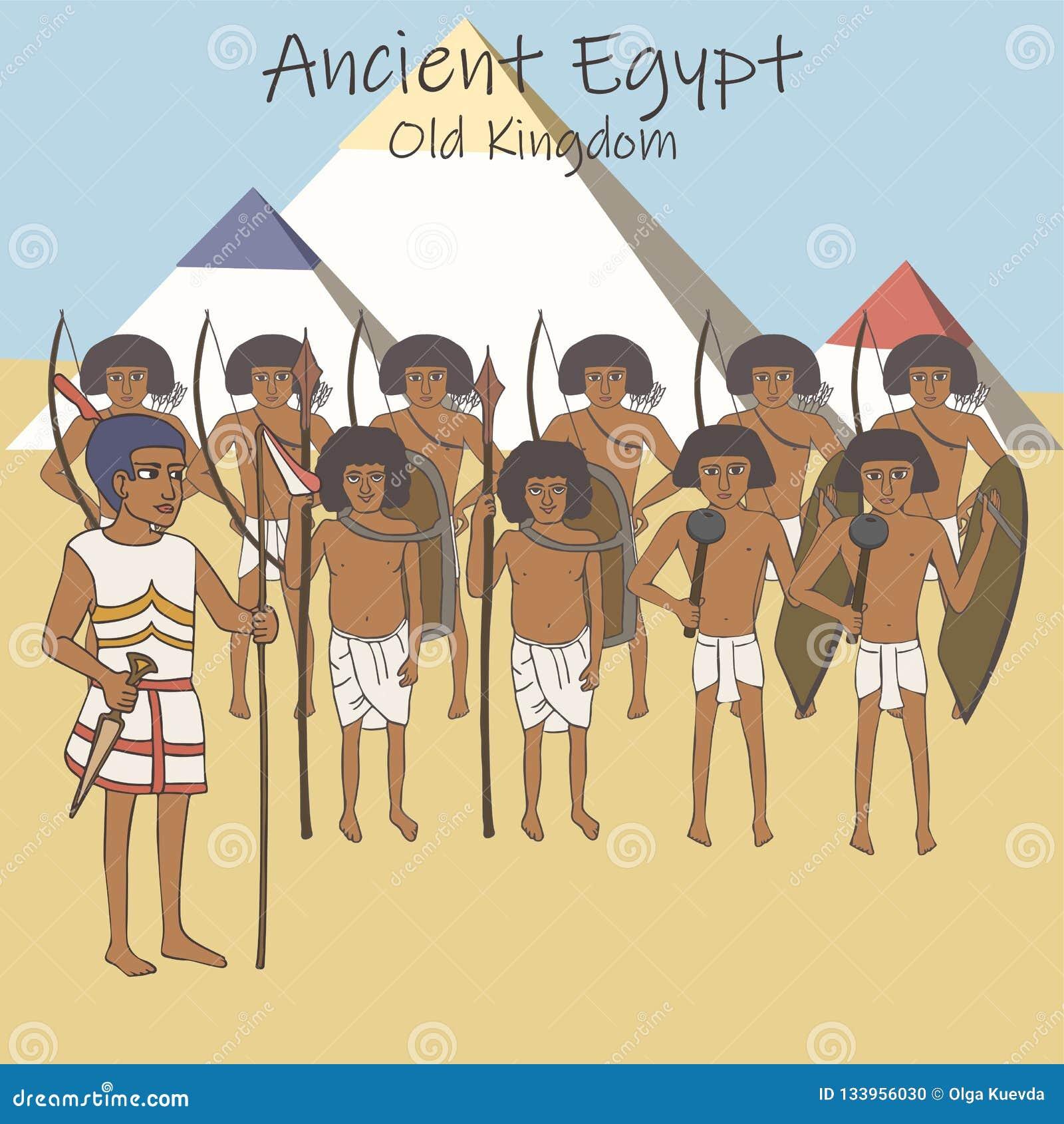 Forntida egyptisk armé av den gamla kungariketecknade filmen