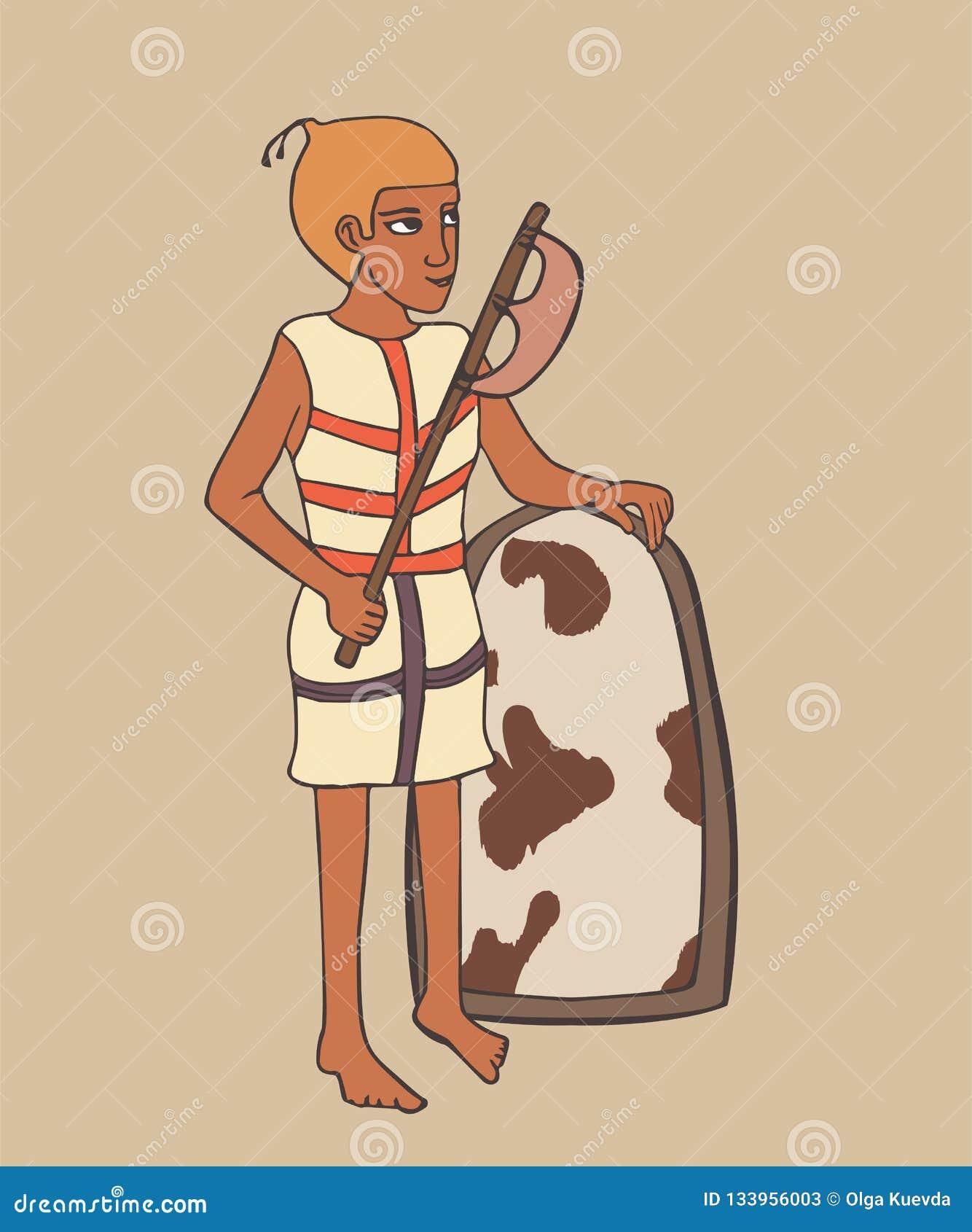 Forntida egyptisk krigare med slaktyxatecknade filmen